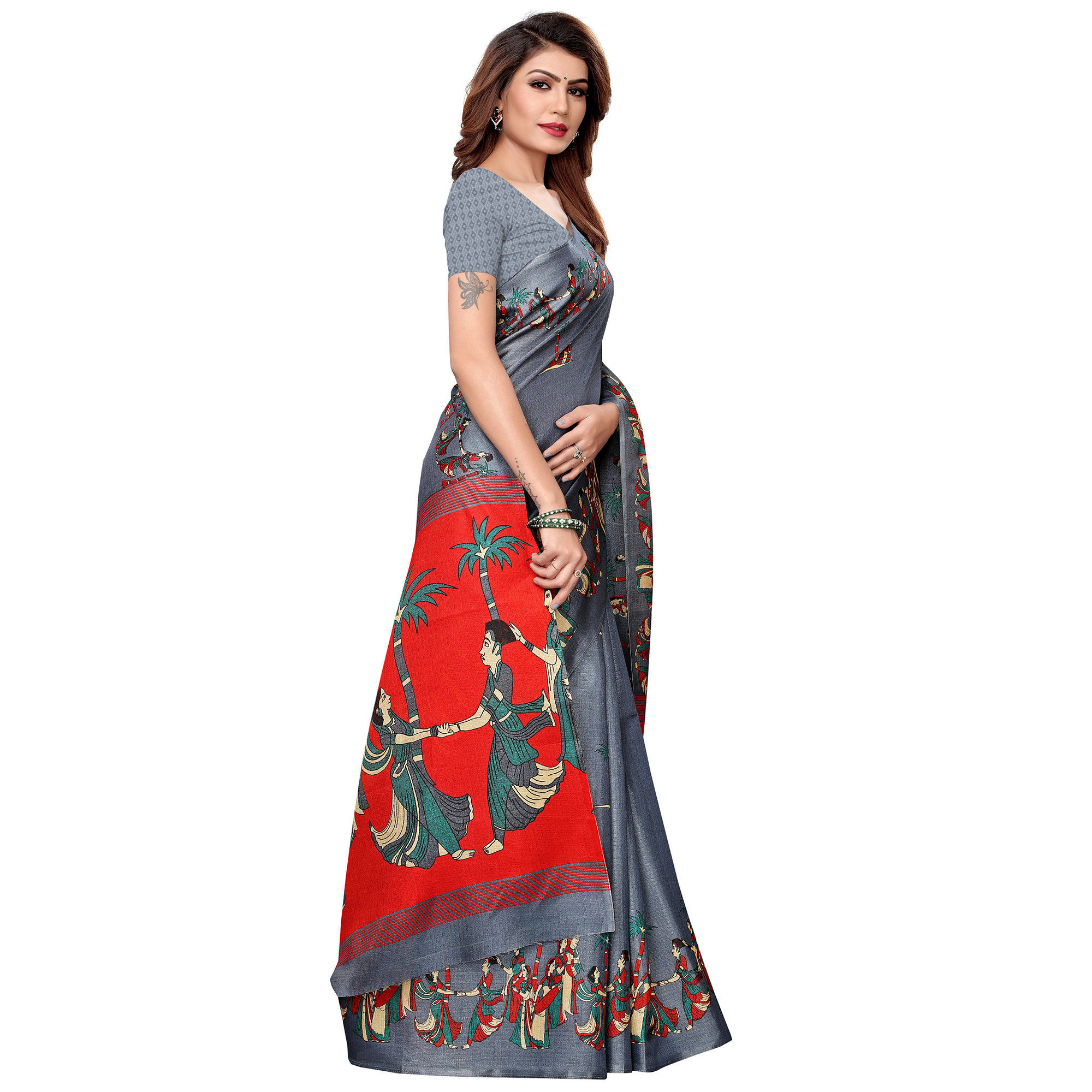 Stunning Slate Gray Colored Festive Wear Khadi Silk Saree