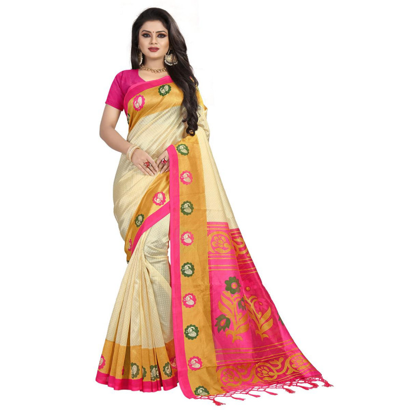 Gorgeous Cream-Pink Colored Festive Wear Mysore Silk Saree With Tassels