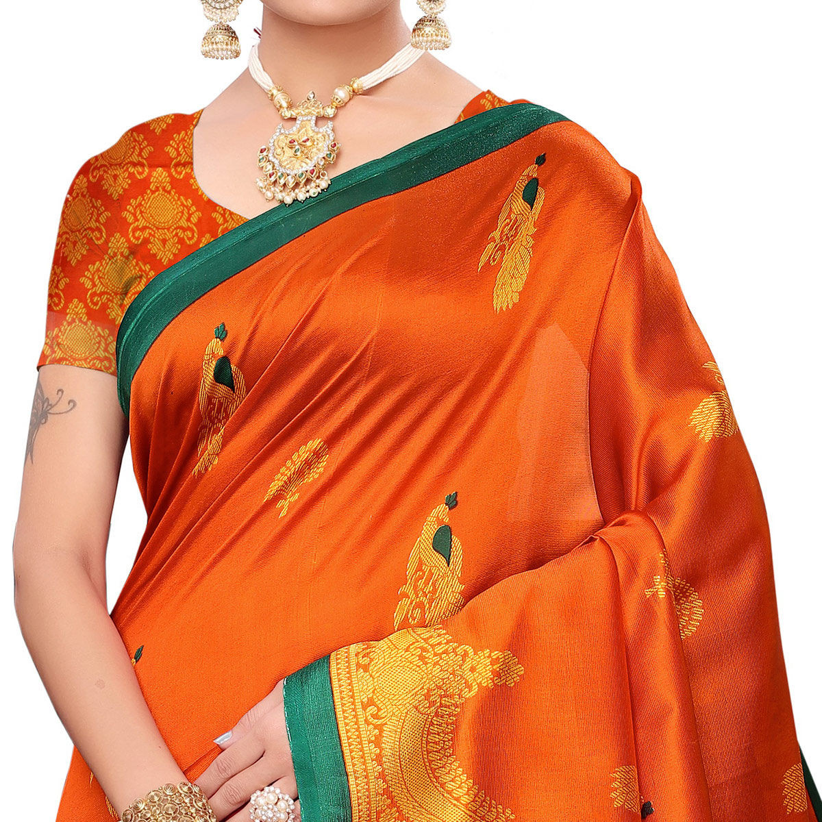 Turquoise Orange Colored Festive Wear Art Silk Saree