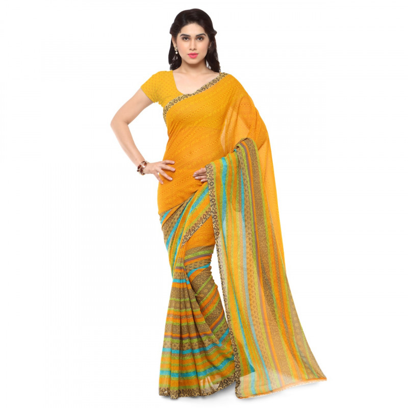 Fancy Mirror Yellow Colored Partywear Georgette Saree