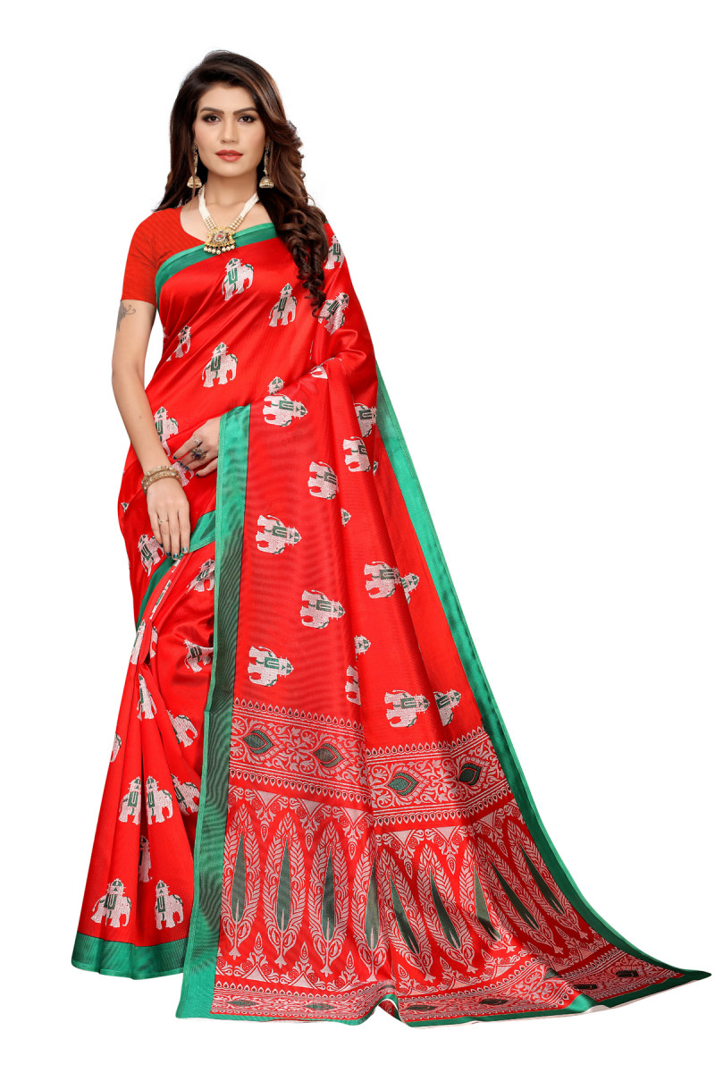 Designer RedParty wearDentingsaree
