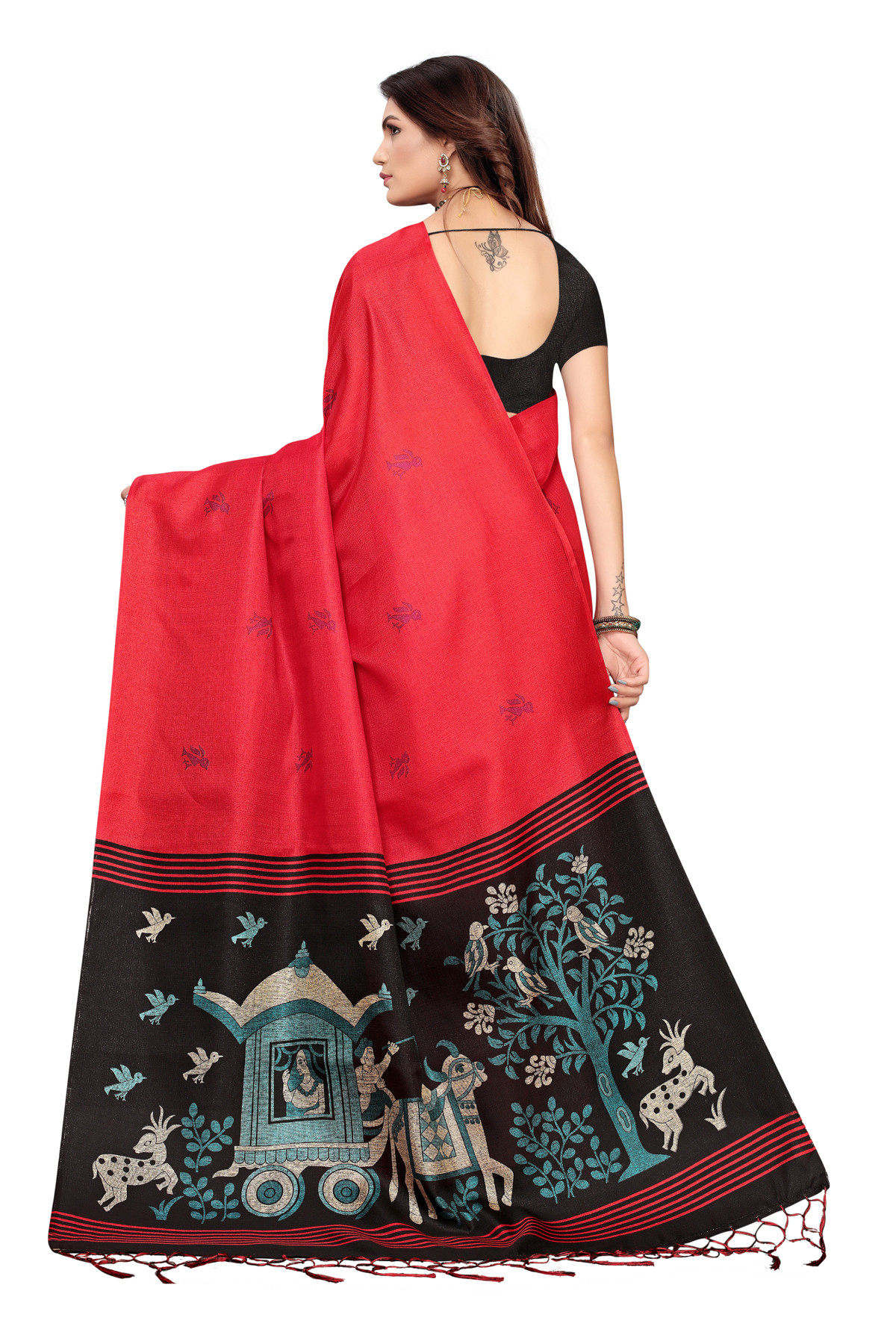 Cultural Party wear Black and Red Color Khadi Silk Jhalor saree