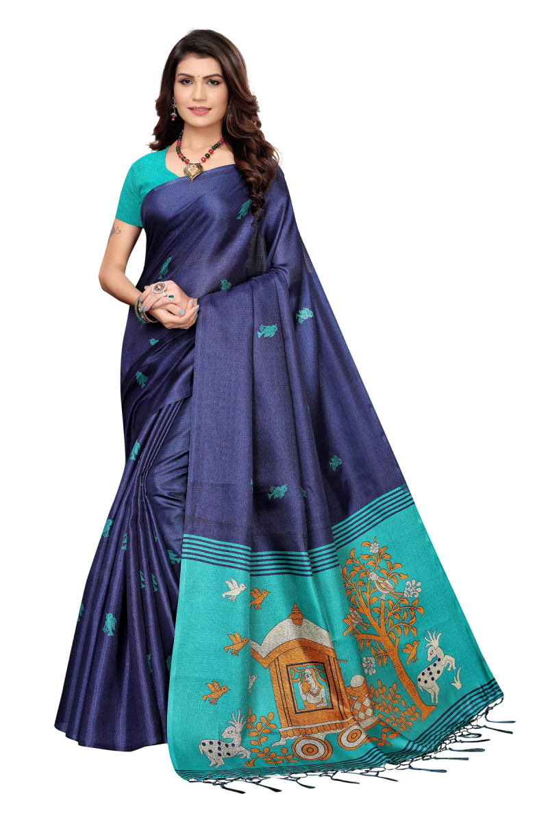 Cultural Party wear Navy Blue and Sky Blue Color Khadi Silk Jhalor saree