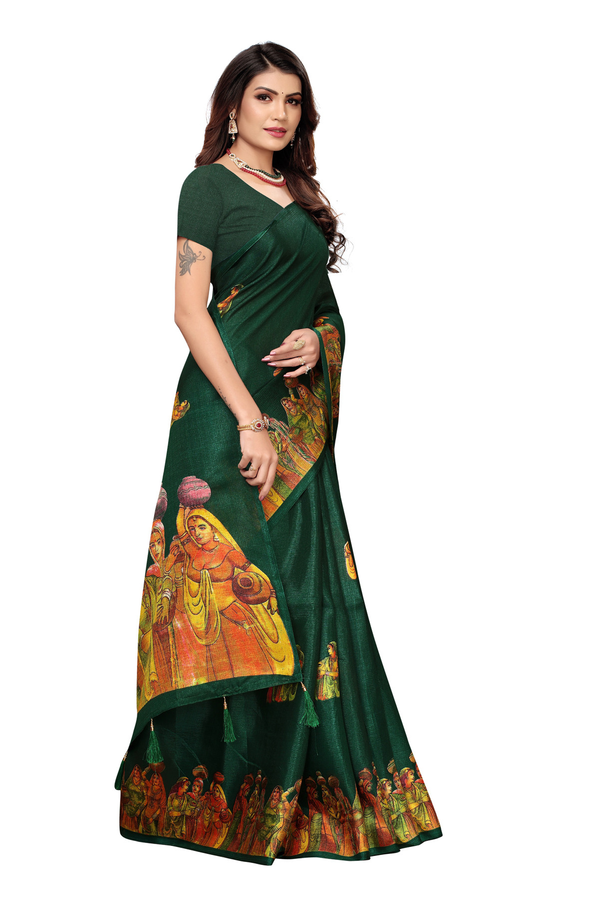 Cultural Party wear Green Color Khadi Silk Jhalor saree