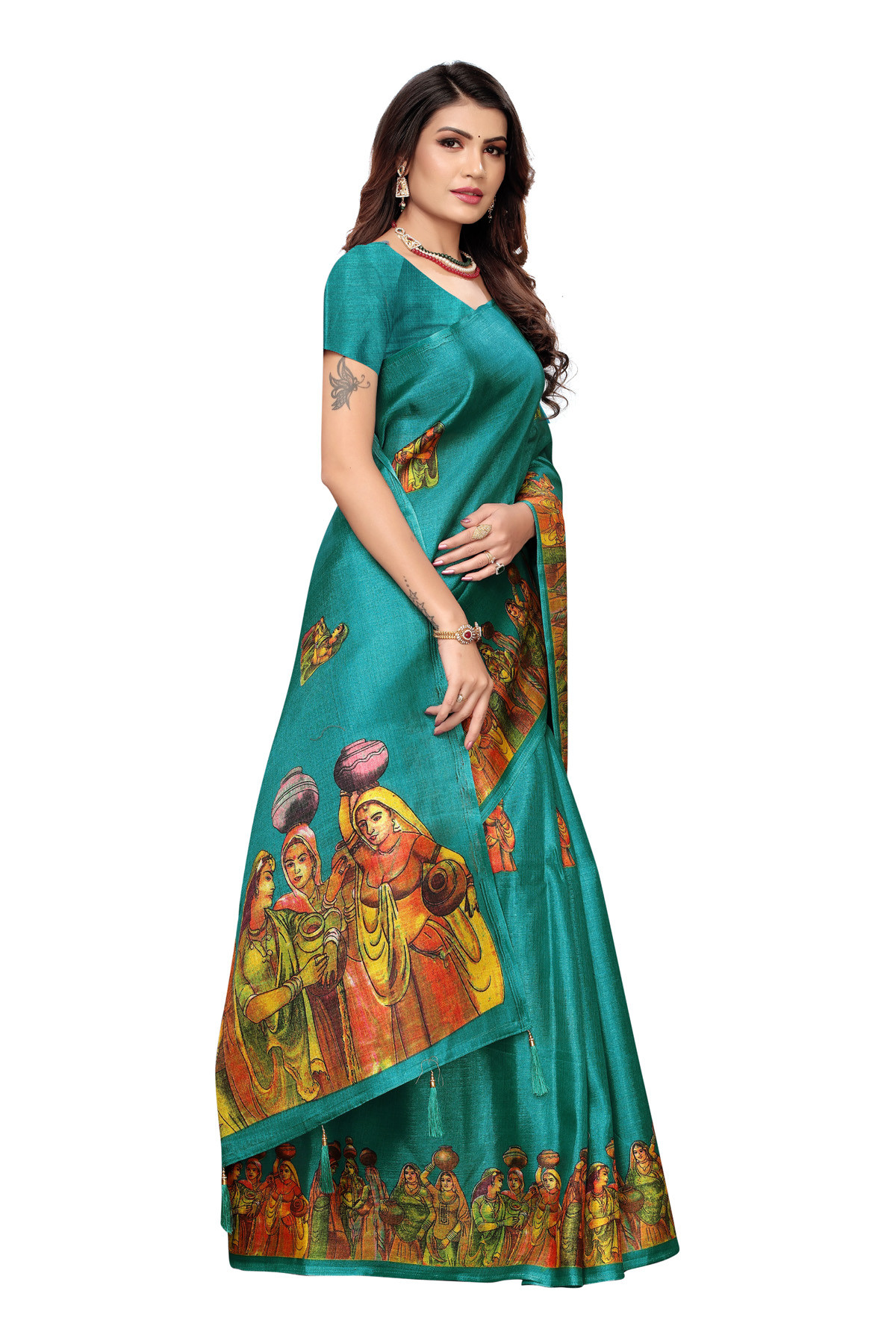 Cultural Party wear Peacock Blue Color Khadi Silk Jhalor saree