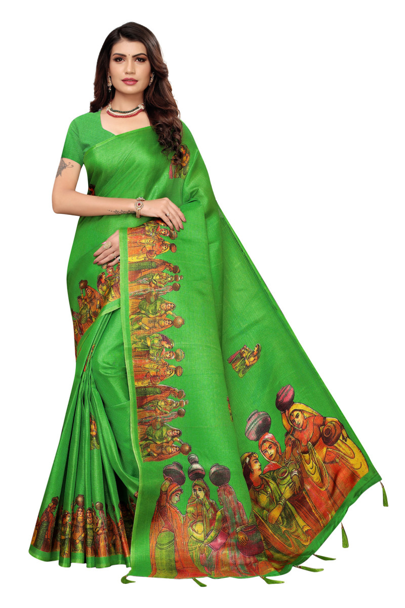 Cultural Party wear Parrot Green Color Khadi Silk Jhalor saree