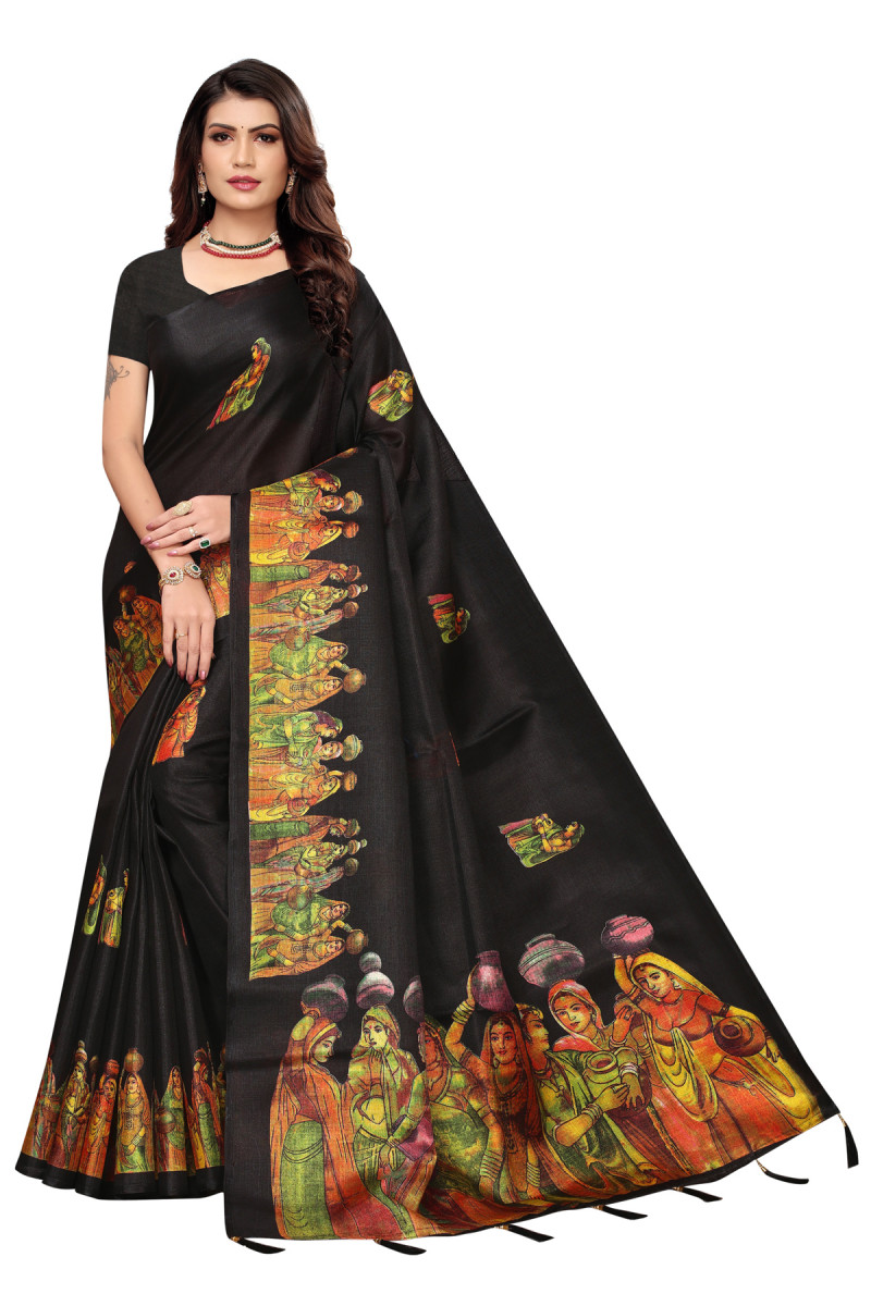 Cultural Party wear Black Color Khadi Silk Jhalor saree
