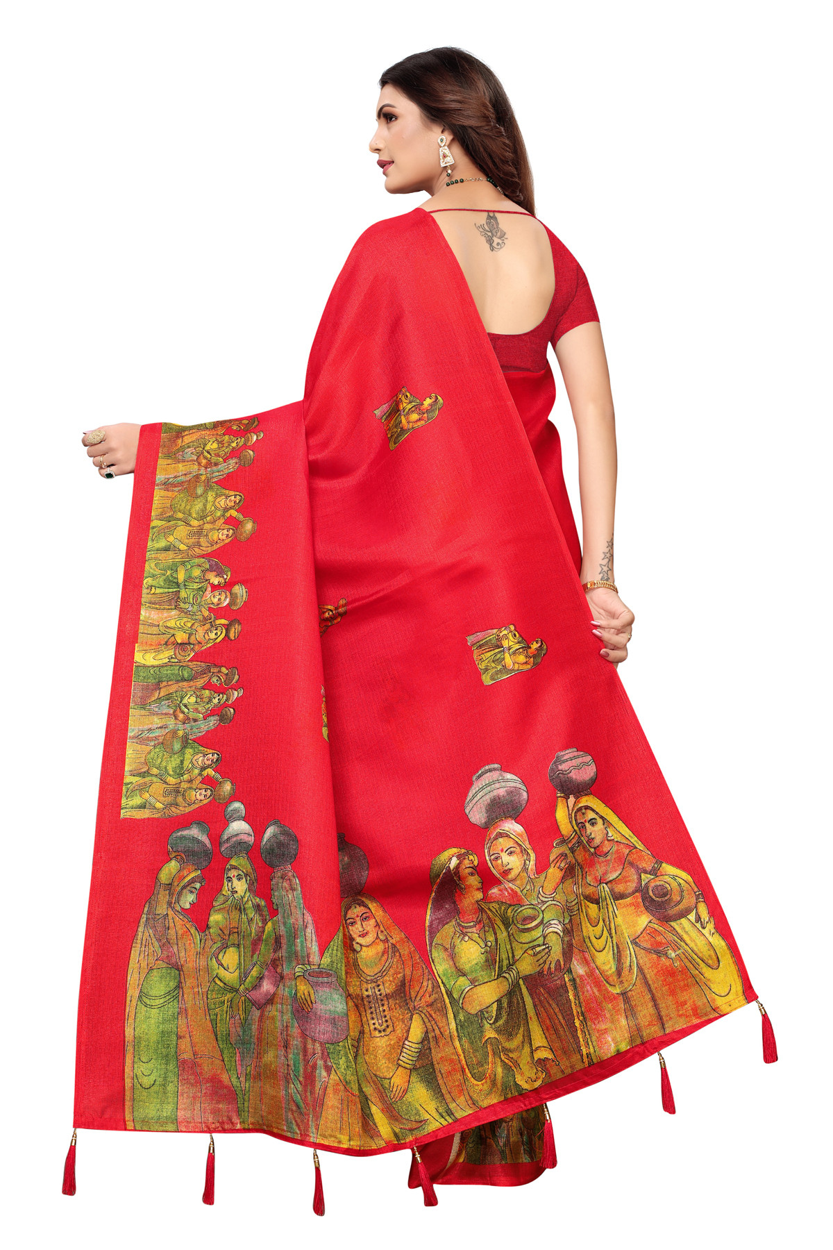 Cultural Party wear Neon Red Color Khadi Silk Jhalor saree
