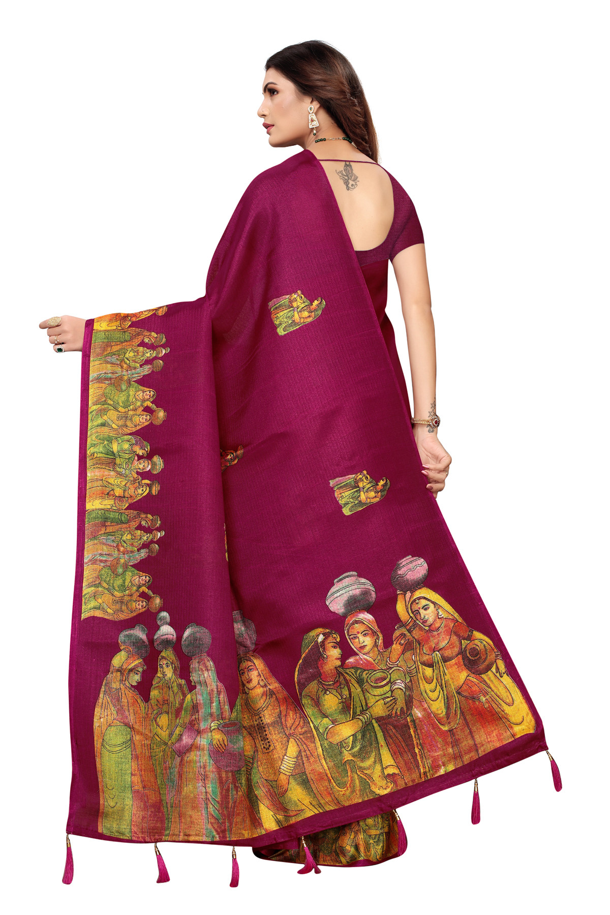 Cultural Party wear Dark Maroon Color Khadi Silk Jhalor saree