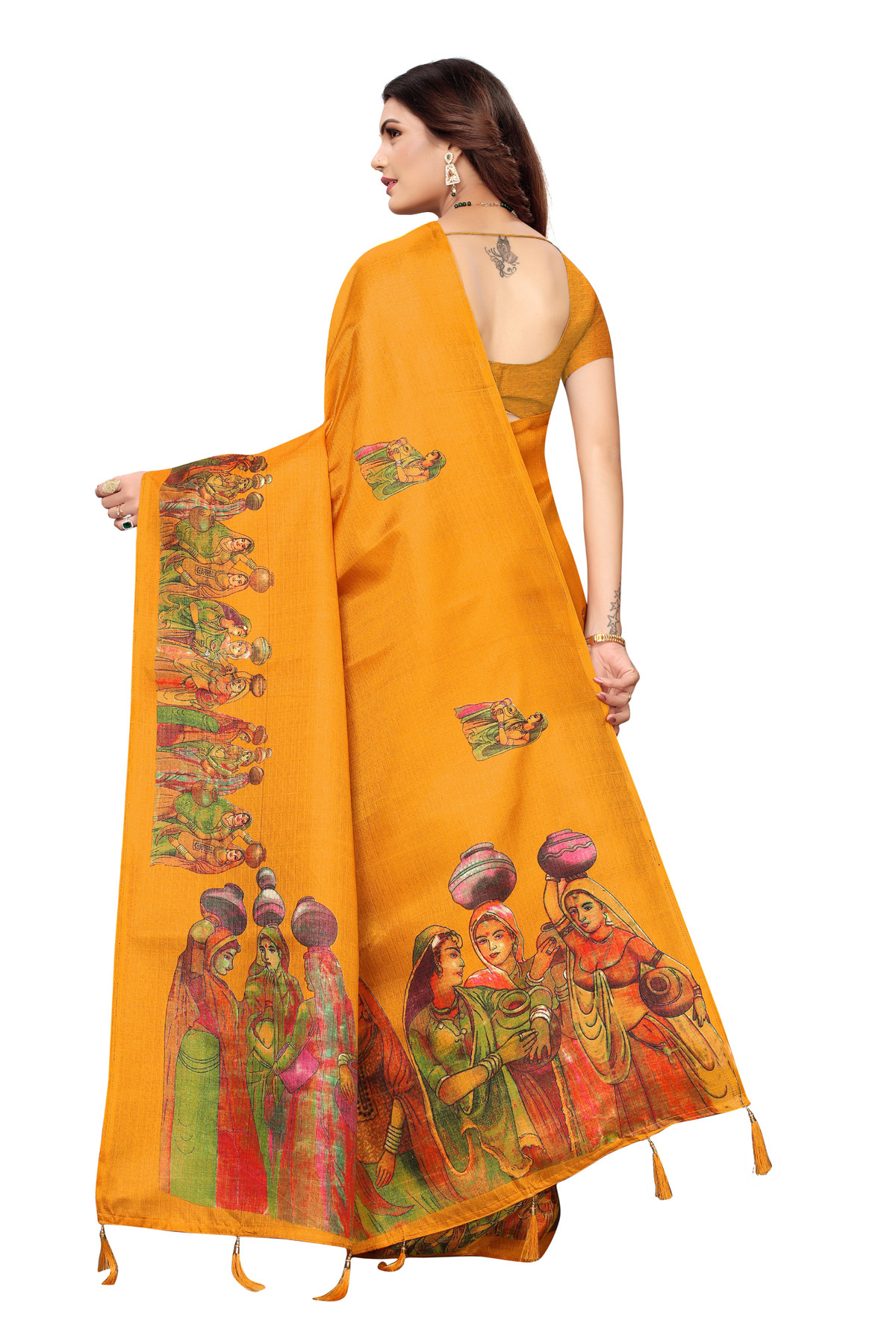 Cultural Party wear Dark Orange Color Khadi Silk Jhalor saree