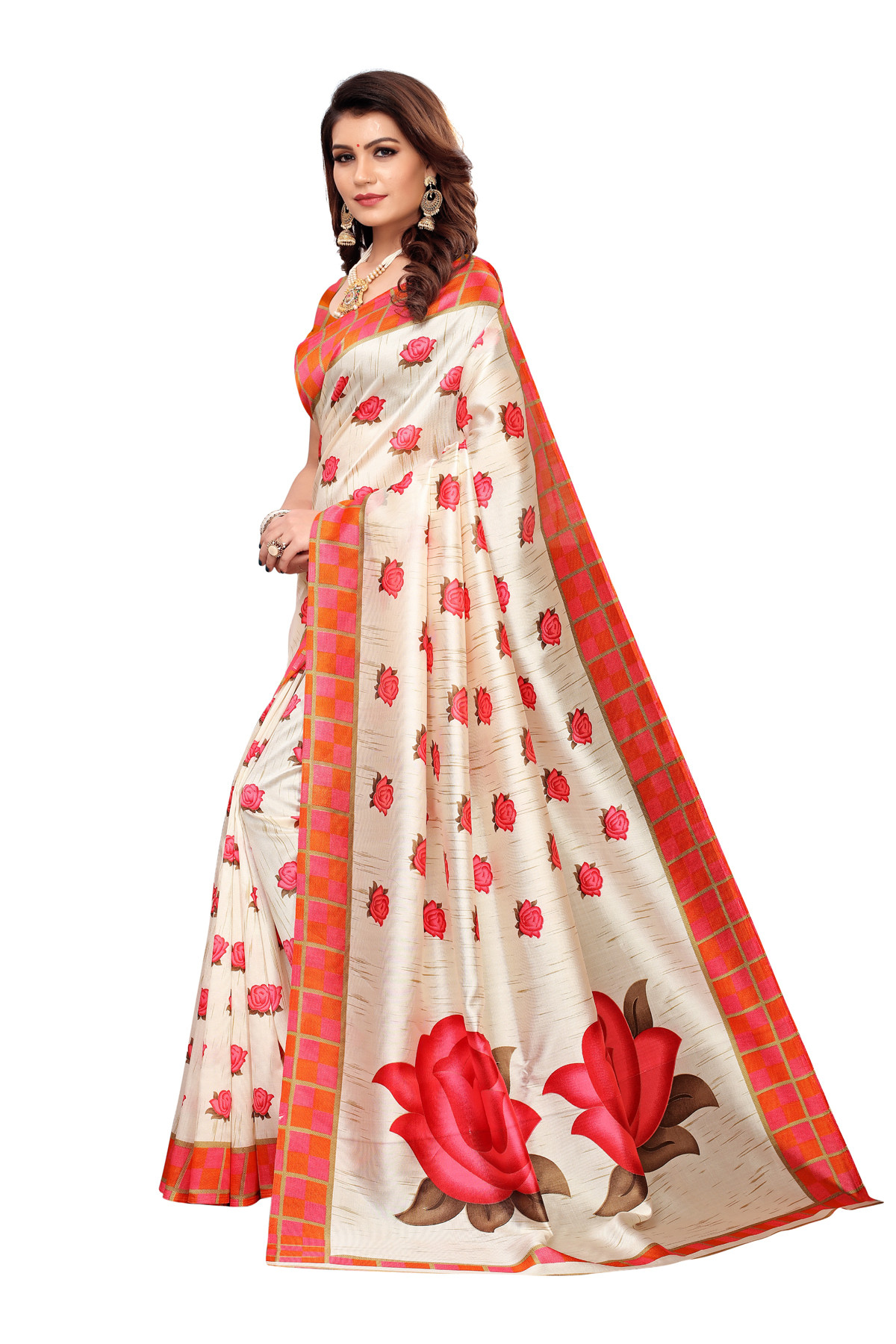 Flower Design Party Wear Cream and Orange Color Maysor Silk Saree