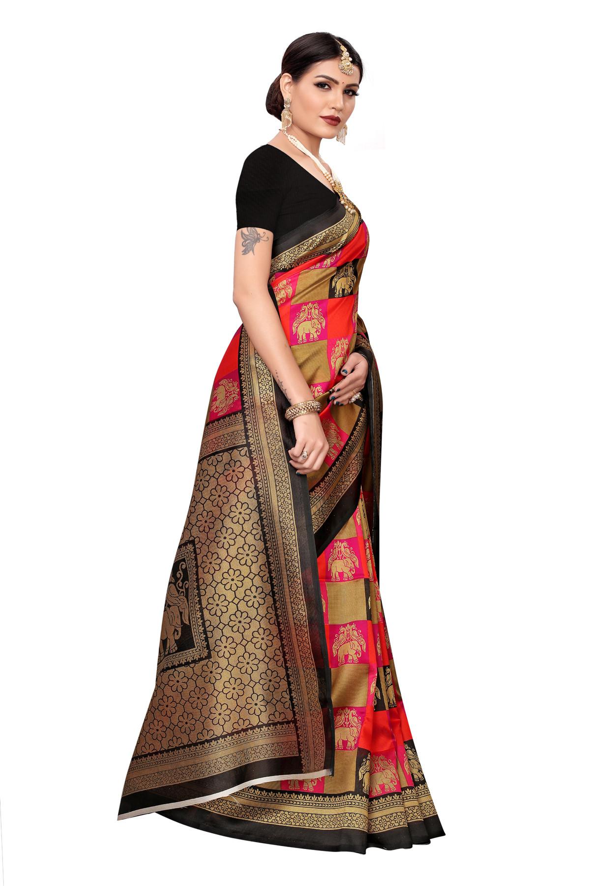 Amazing Culture Design Party Wear Black & Multi Color Maysor Silk Saree