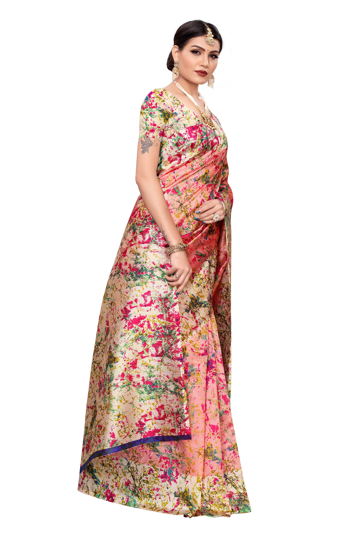 Amazing Culture Design Party Wear Cream & Multi Color Maysor Silk Saree