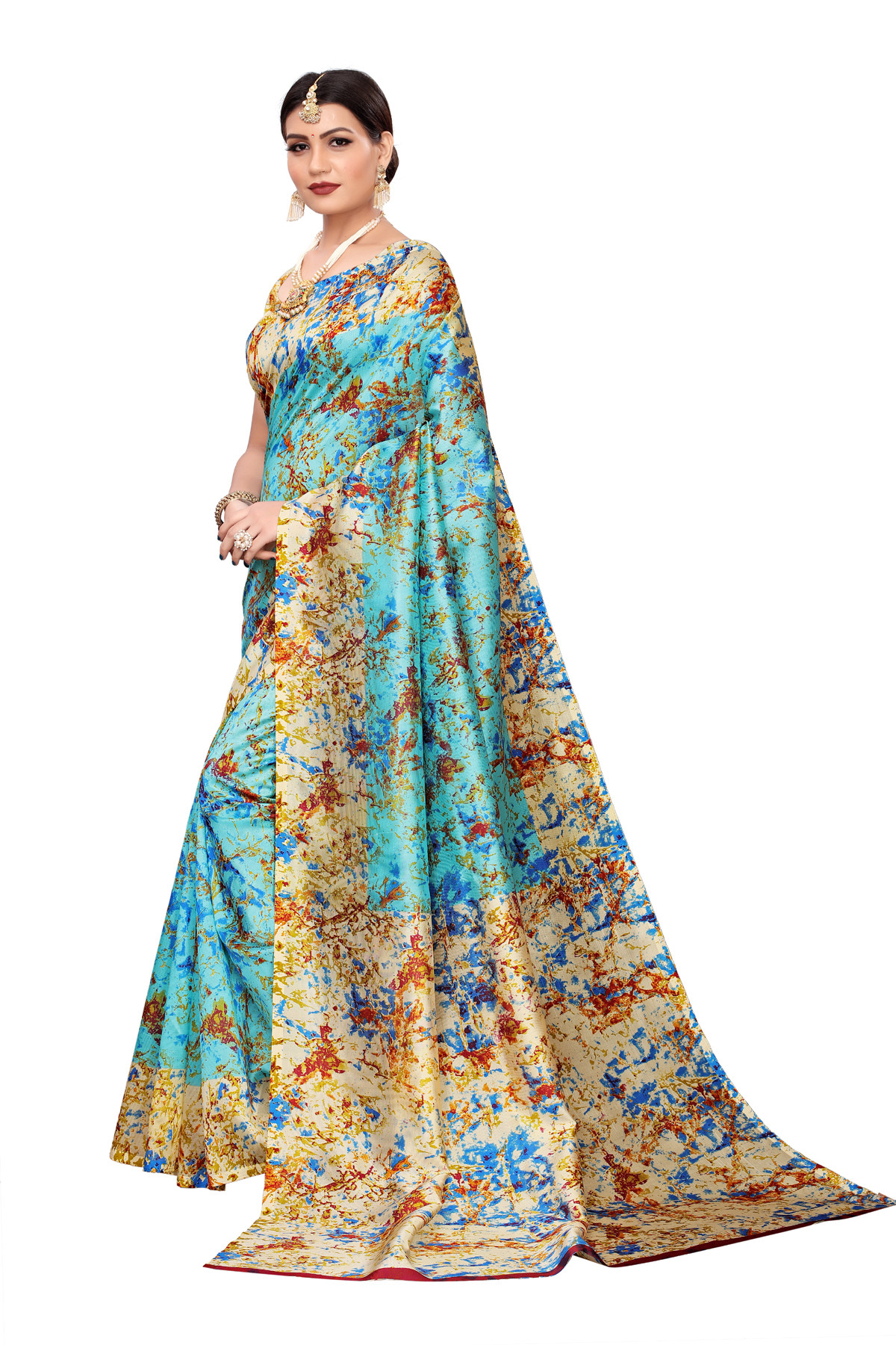 Amazing Culture Design Party Wear Blue & Multi Color Maysor Silk Saree