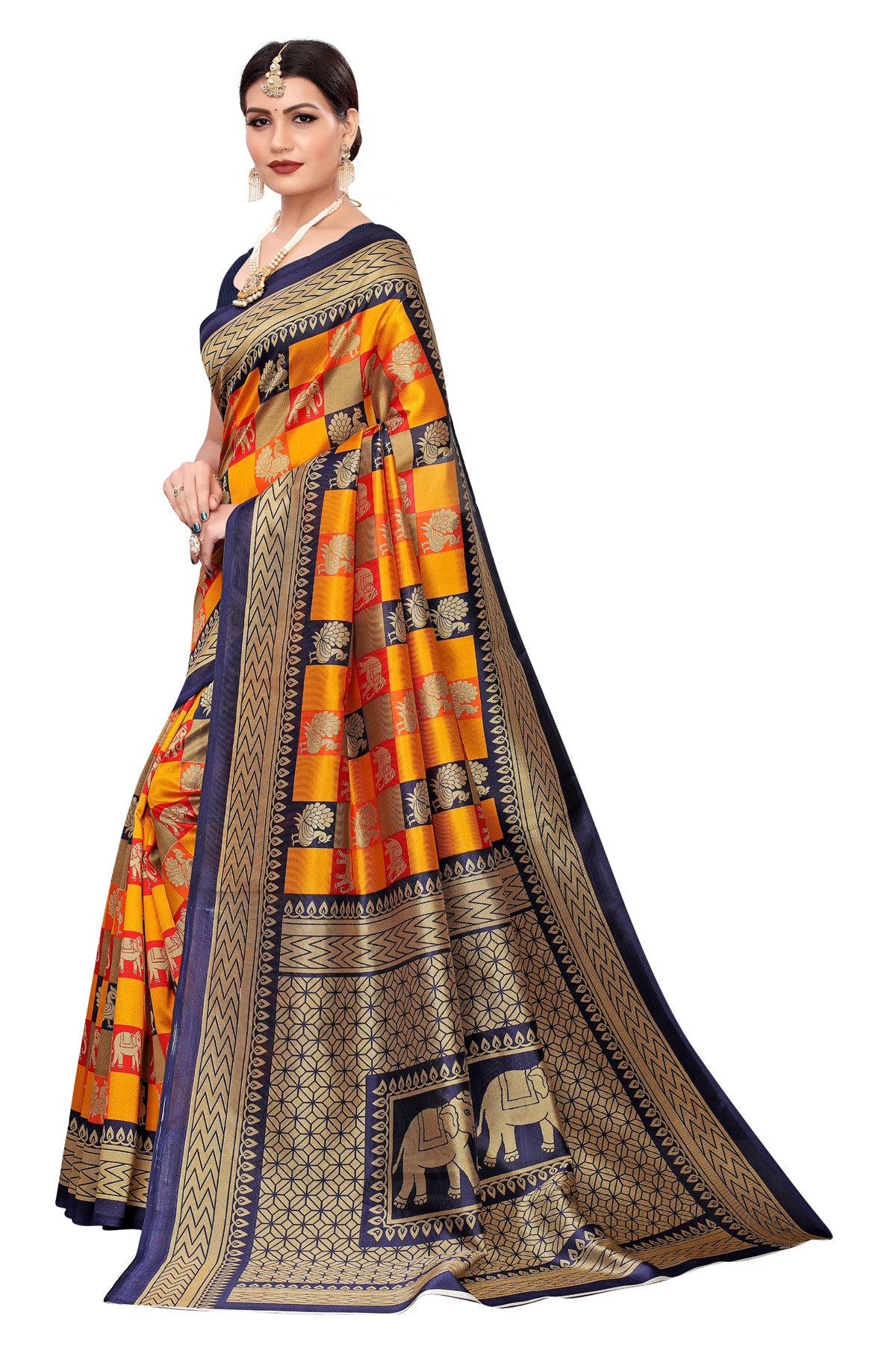 Amazing Ethnic Design Party Wear Blue and Orange Maysor Silk Saree