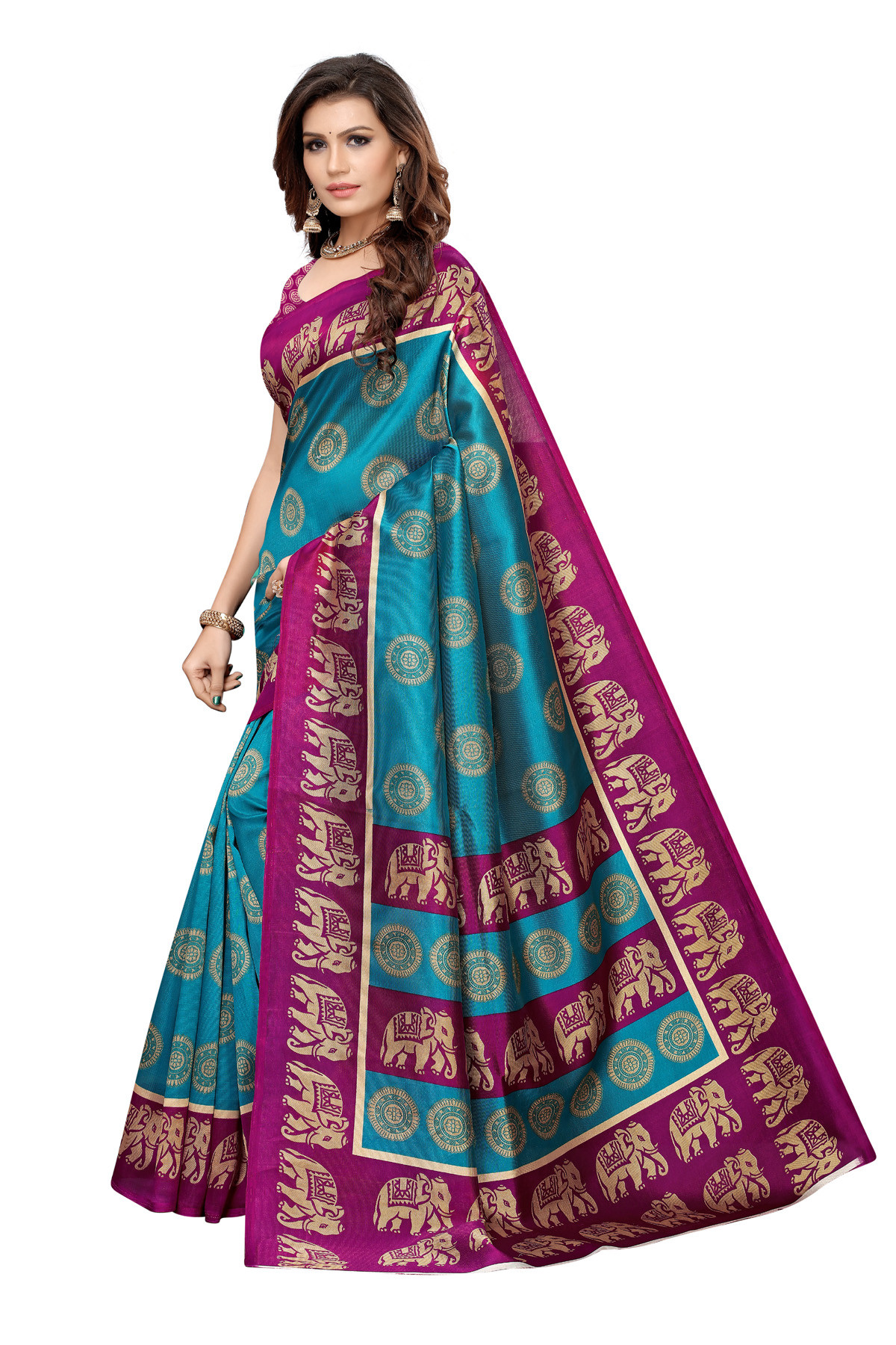 Amazing Ethnic Design Party Wear Purple and Sky Blue Maysor Silk Saree