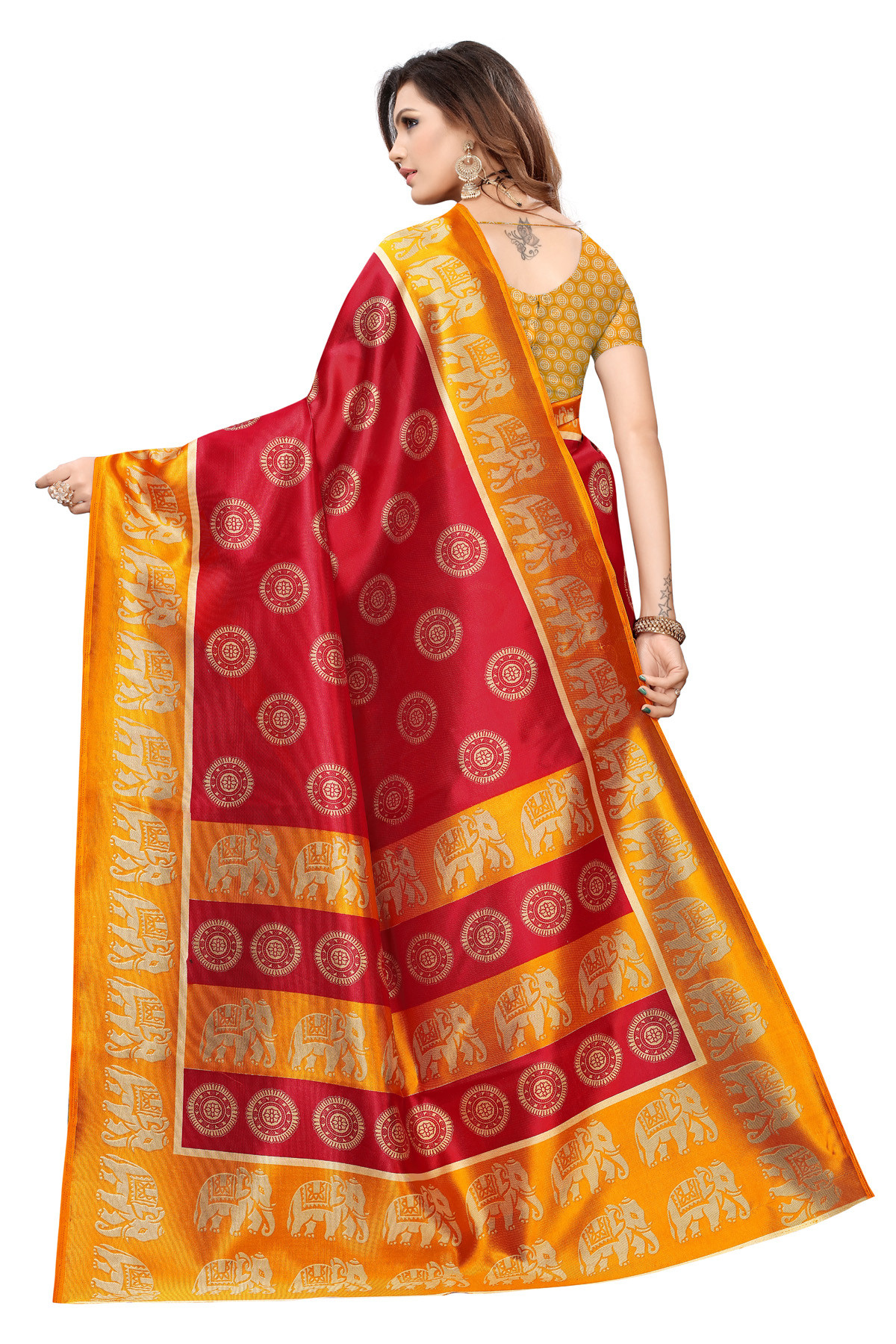 Amazing Ethnic Design Party Wear Orange and Red Maysor Silk Saree