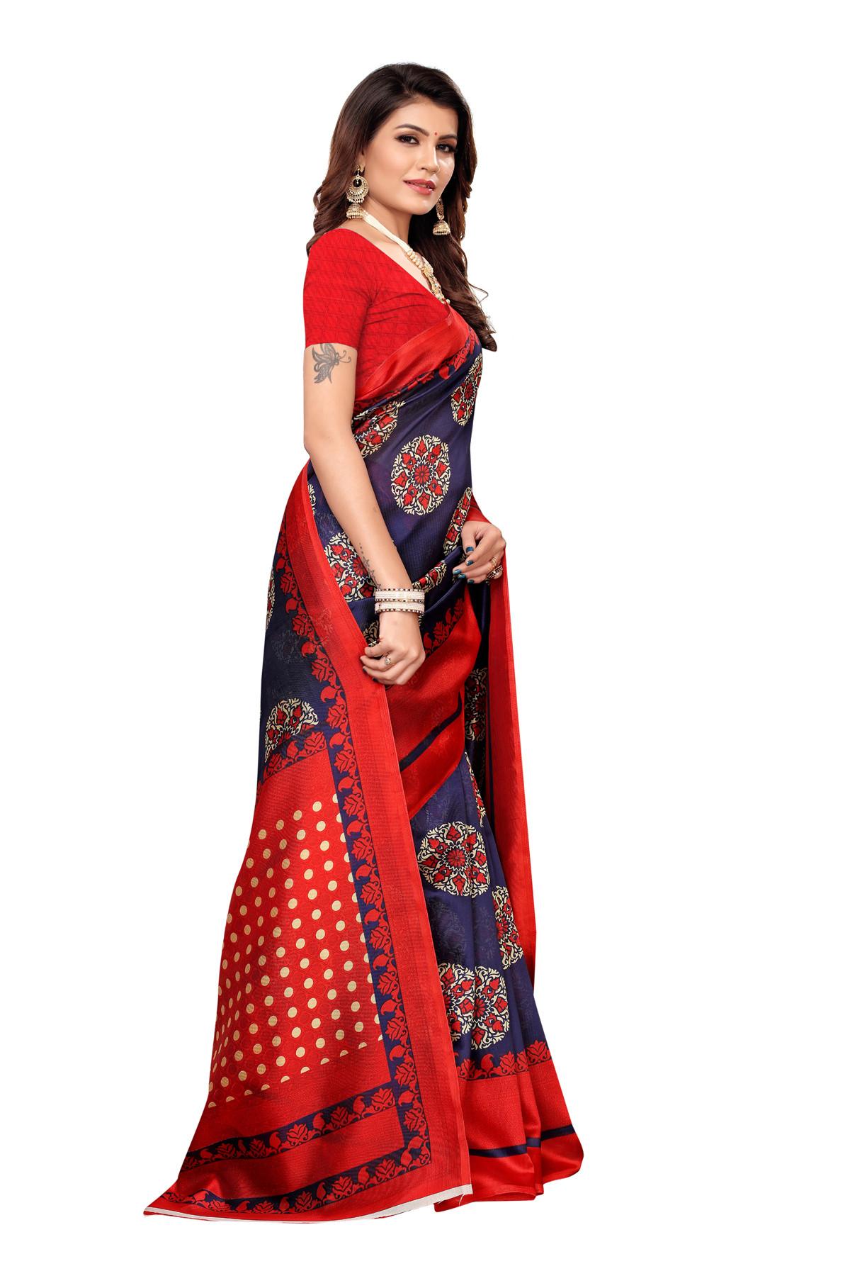 Designer Red&BlueParty  wear Denting saree
