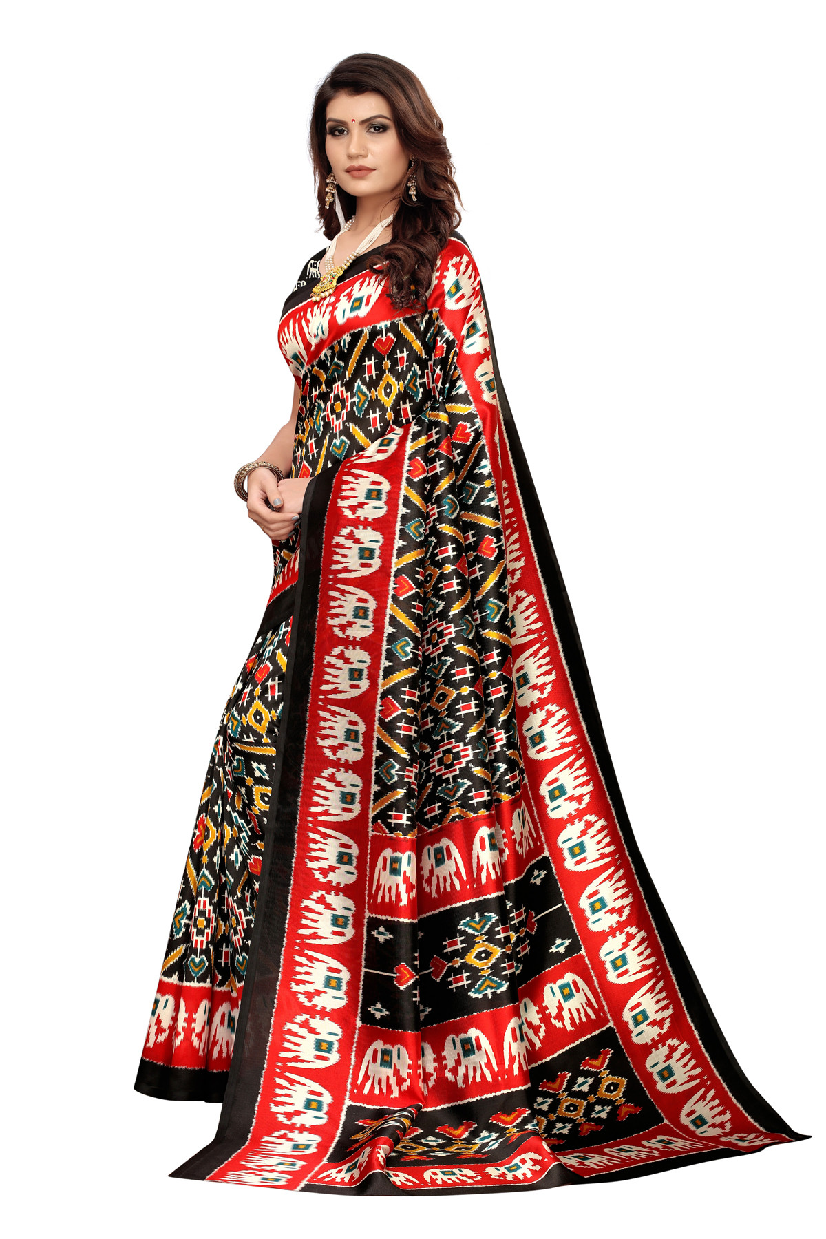 Amazing Ethnic Design Party Wear Black and Red Maysor Silk Saree