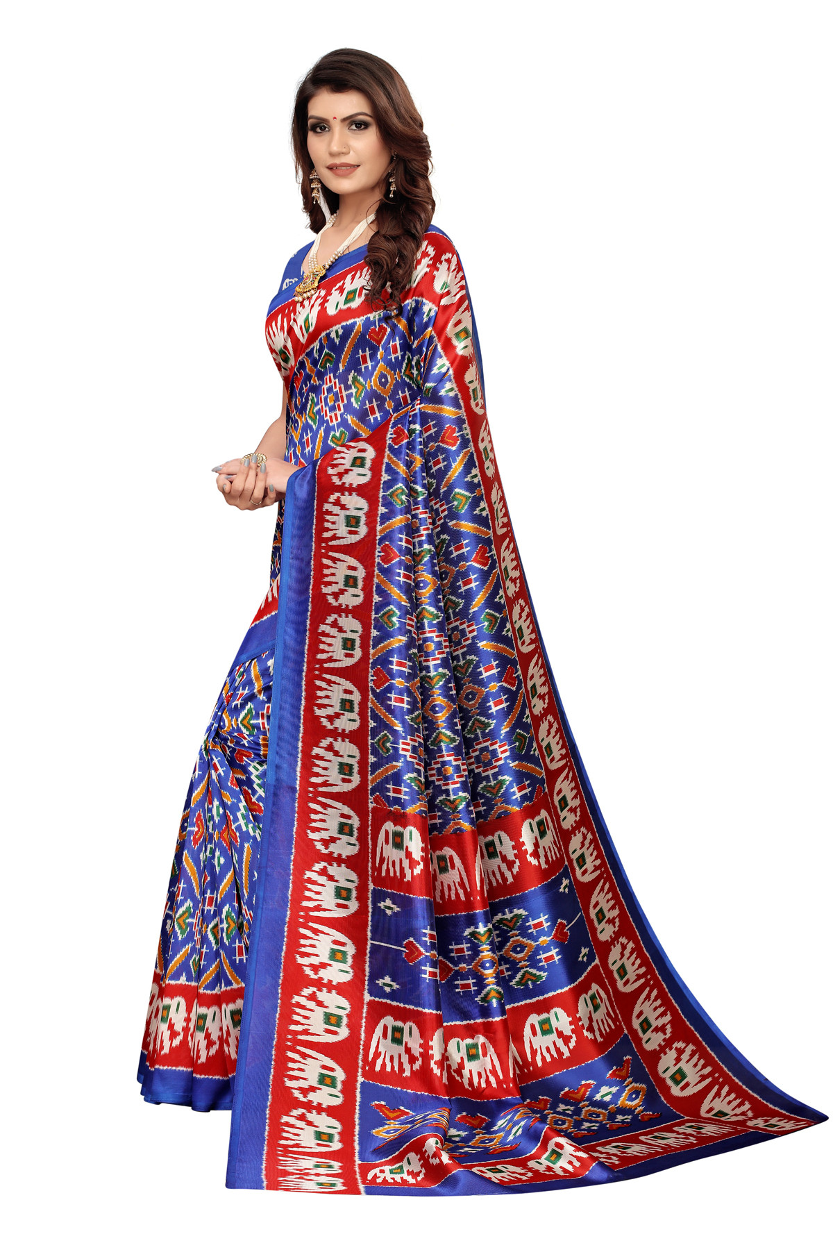 Amazing Ethnic Design Party Wear Blue and Red Maysor Silk Saree