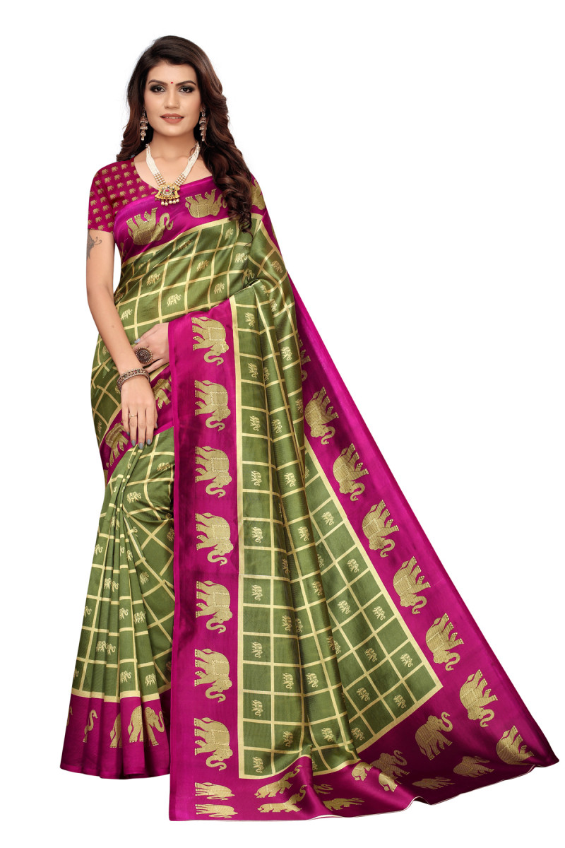 Amazing Ethnic Design Party Wear Maroon and Green Maysor Silk Saree