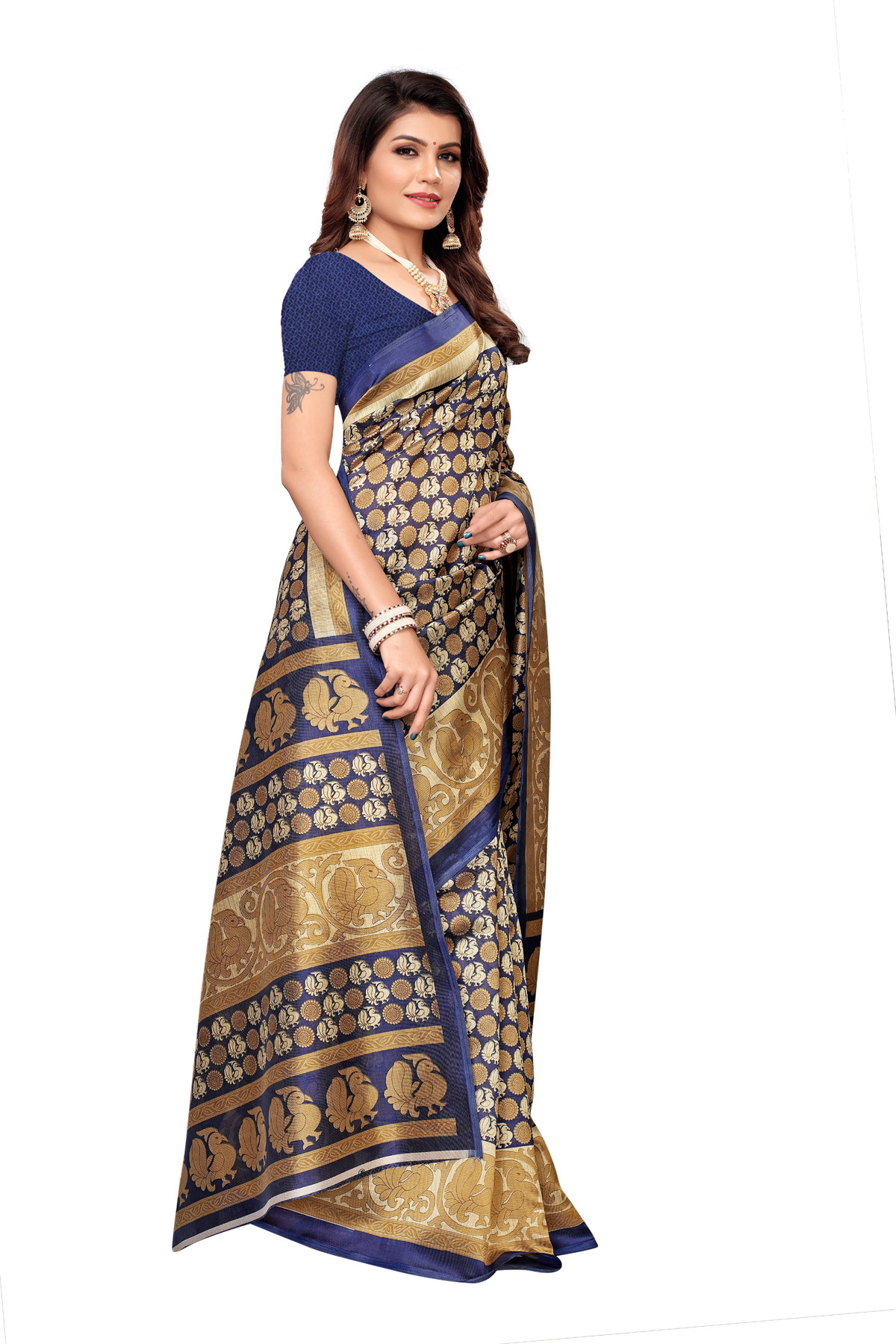 Designer Violet&Golden Party wear Denting saree
