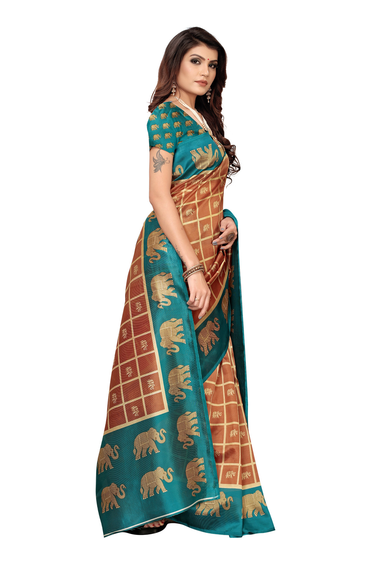 Amazing Elephant Design Party Wear Peacock Blue Maysor Silk Saree