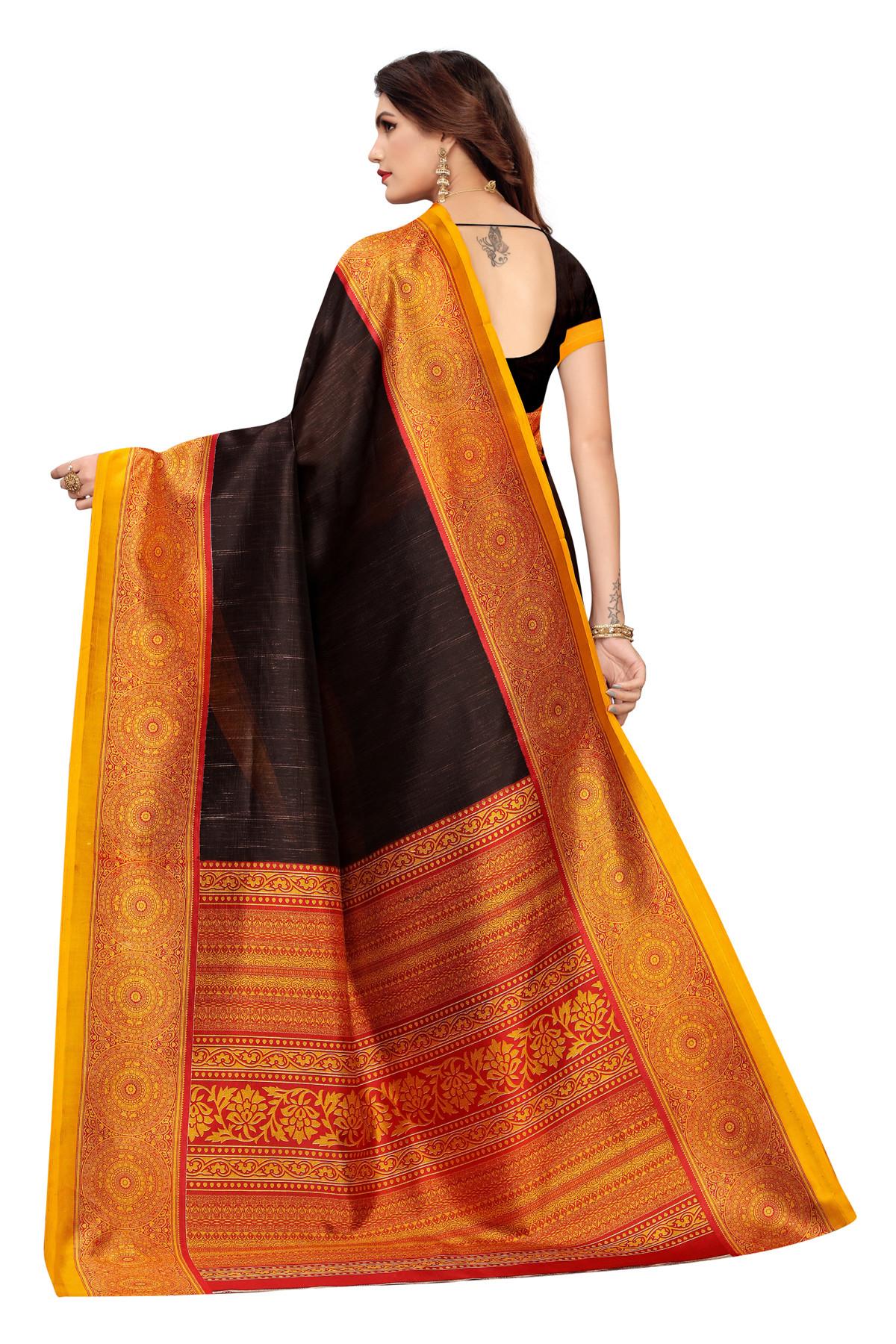 Amazing Elephant Design Party Wear Orange and Black Maysor Silk Saree