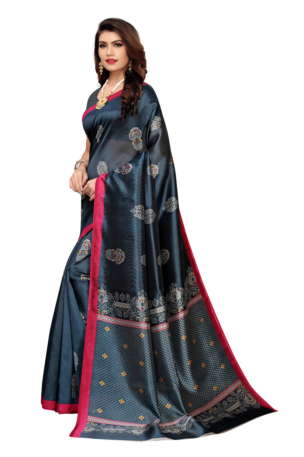 Amazing Elephant Design Party Wear Dark Grey Maysor Silk Saree