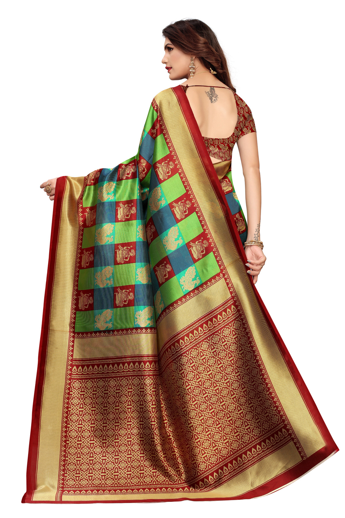 Amazing Elephant Design Party Wear Dark Red Maysor Silk Saree