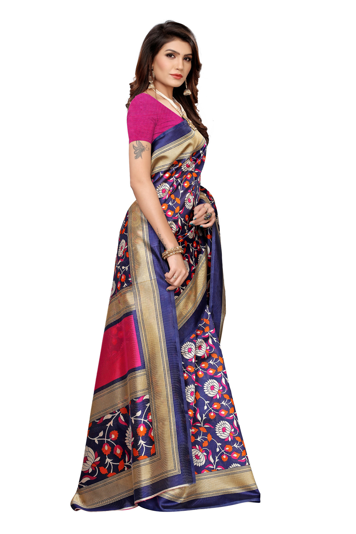 Designer Multi Party wear Denting saree