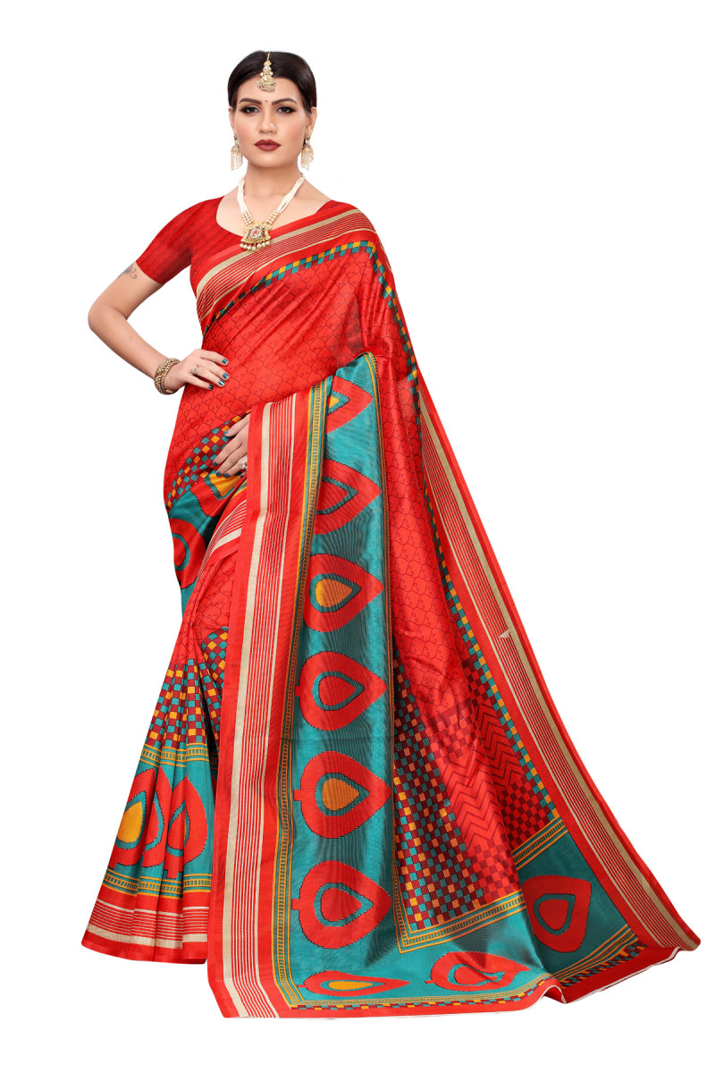 Designer RedParty wear Denting saree