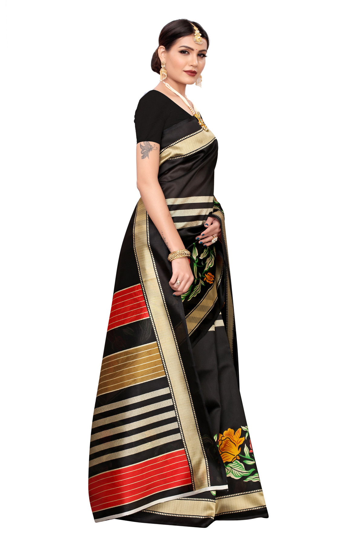 Designer  BlackParty wear Denting saree