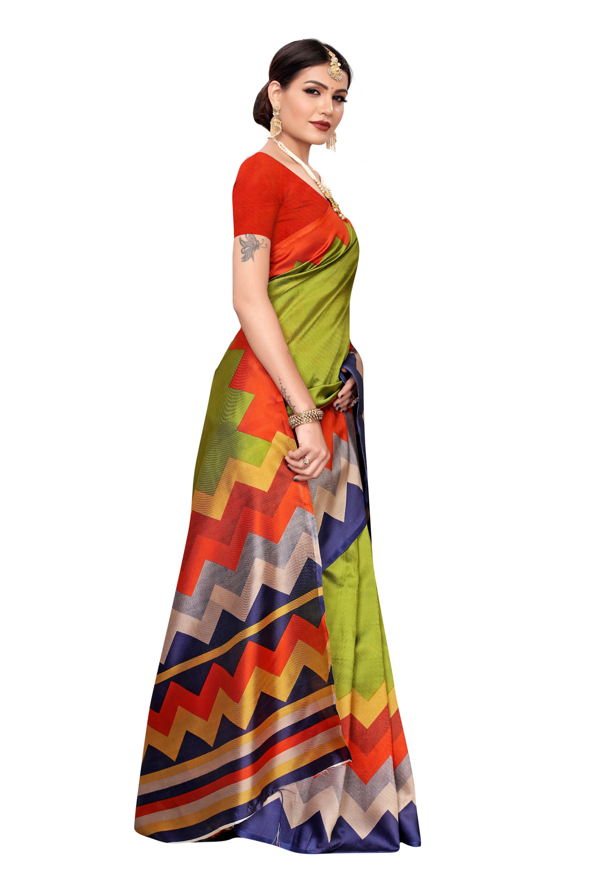 Designer MultiColor Party wearDentingsaree