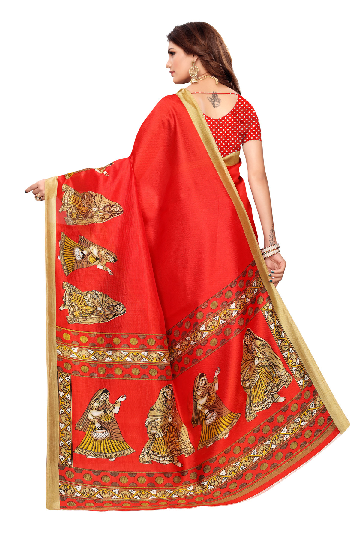 Designer Orange Party wear Denting saree
