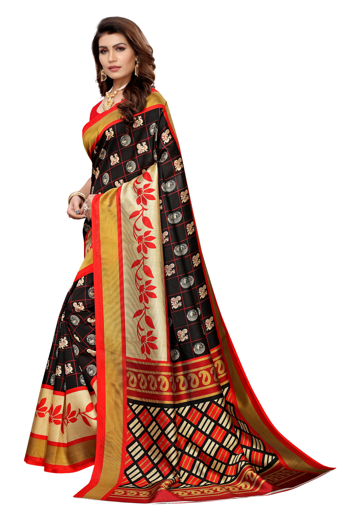 Designer Black & Red Party wear Denting saree