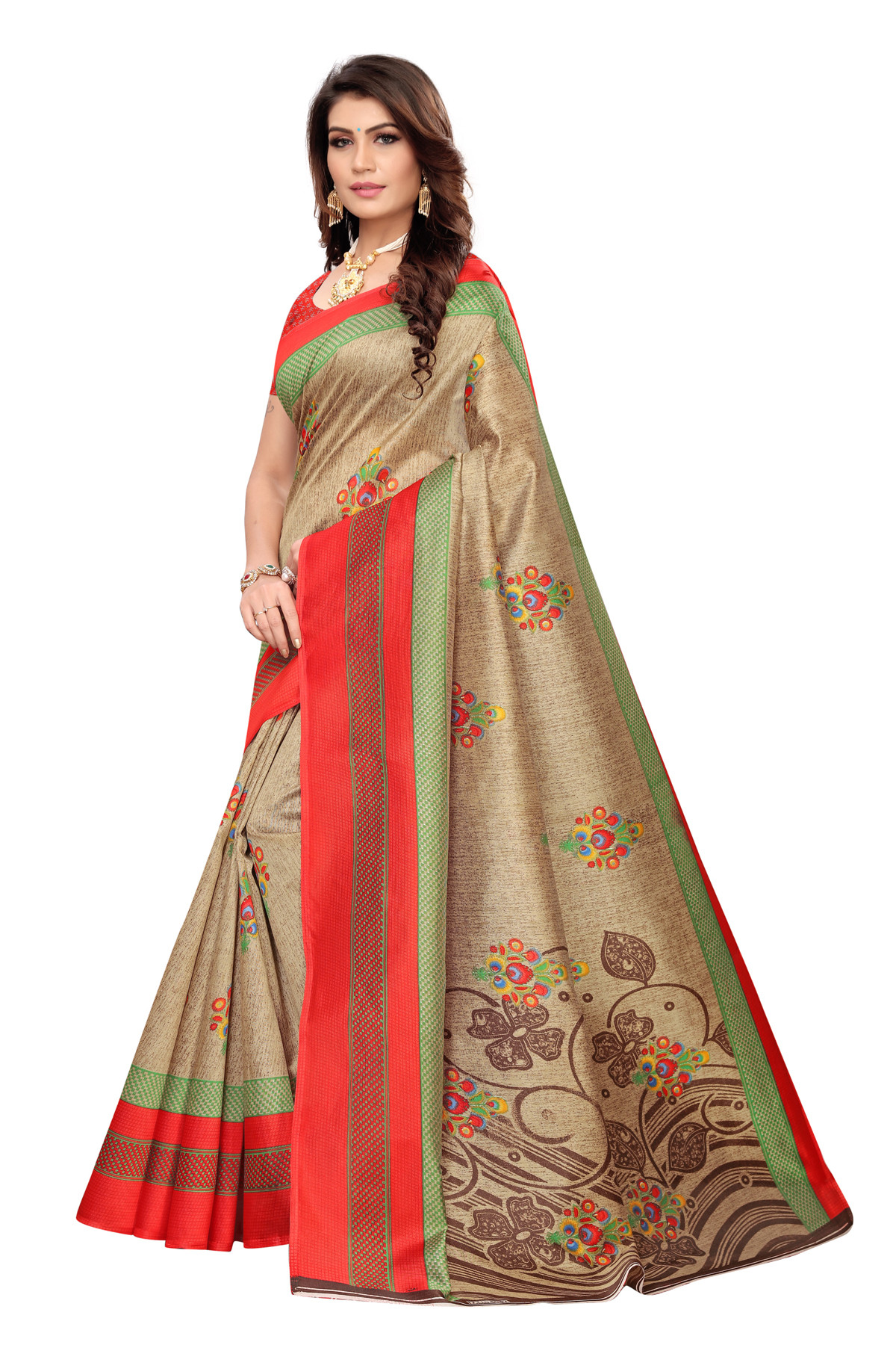 Latest Red  & Brown Party wear Denting saree