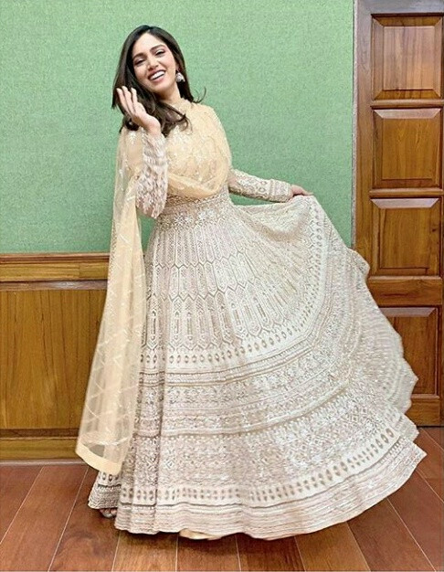 Bhumi Pednekar Georgette Beautiful Cream Colored Bollywood Wedding Wear Suit