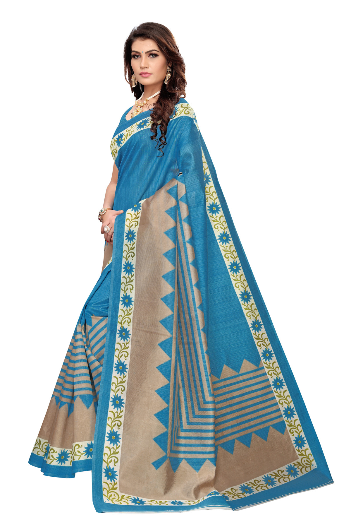 Latest Sky Party Wear Denting Saree