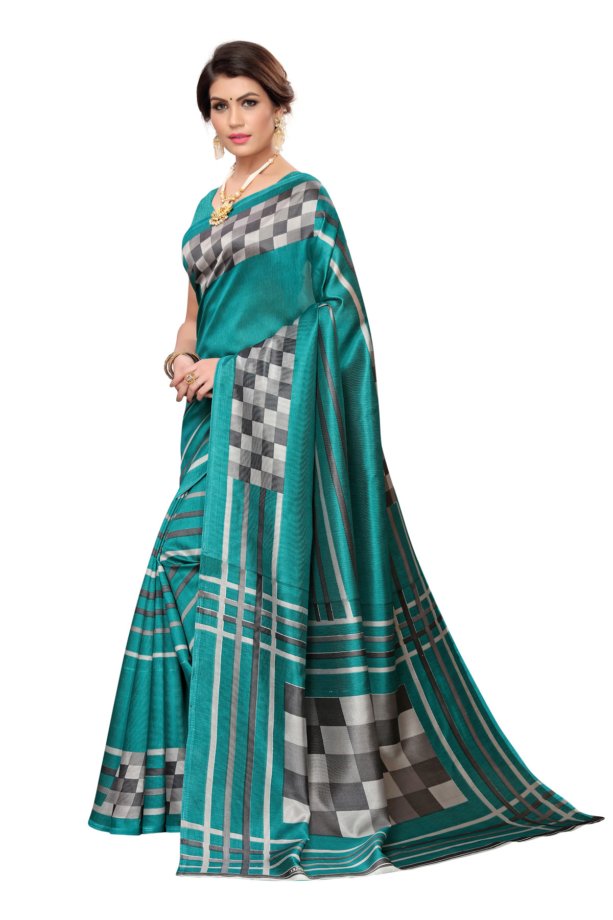 Latest CyanParty wear Denting saree