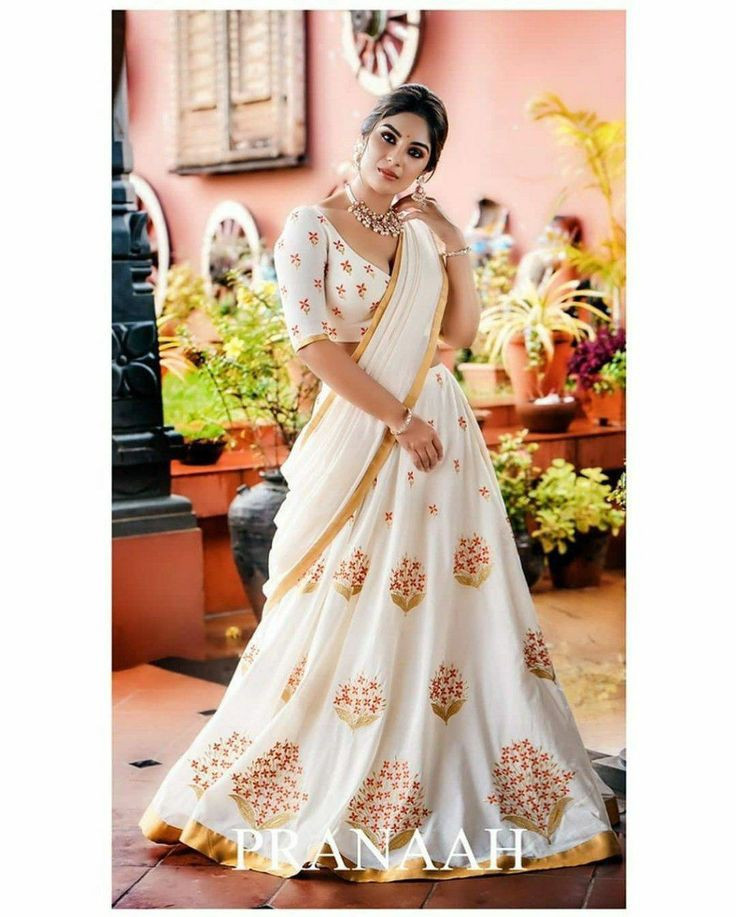 Beautiful Samyuktha Menon White Color Georgette Indian Wedding Lehenga Choli