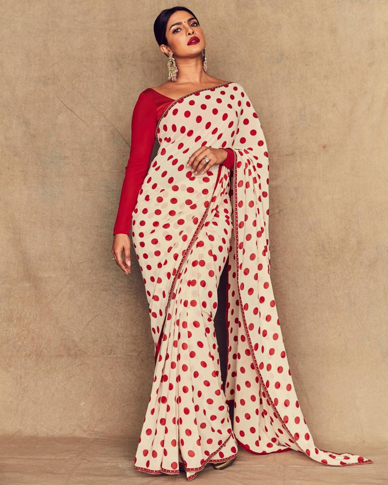 Bollywood Priyanka Chopra In Palka Dot Printed Red & White Georgette Saree