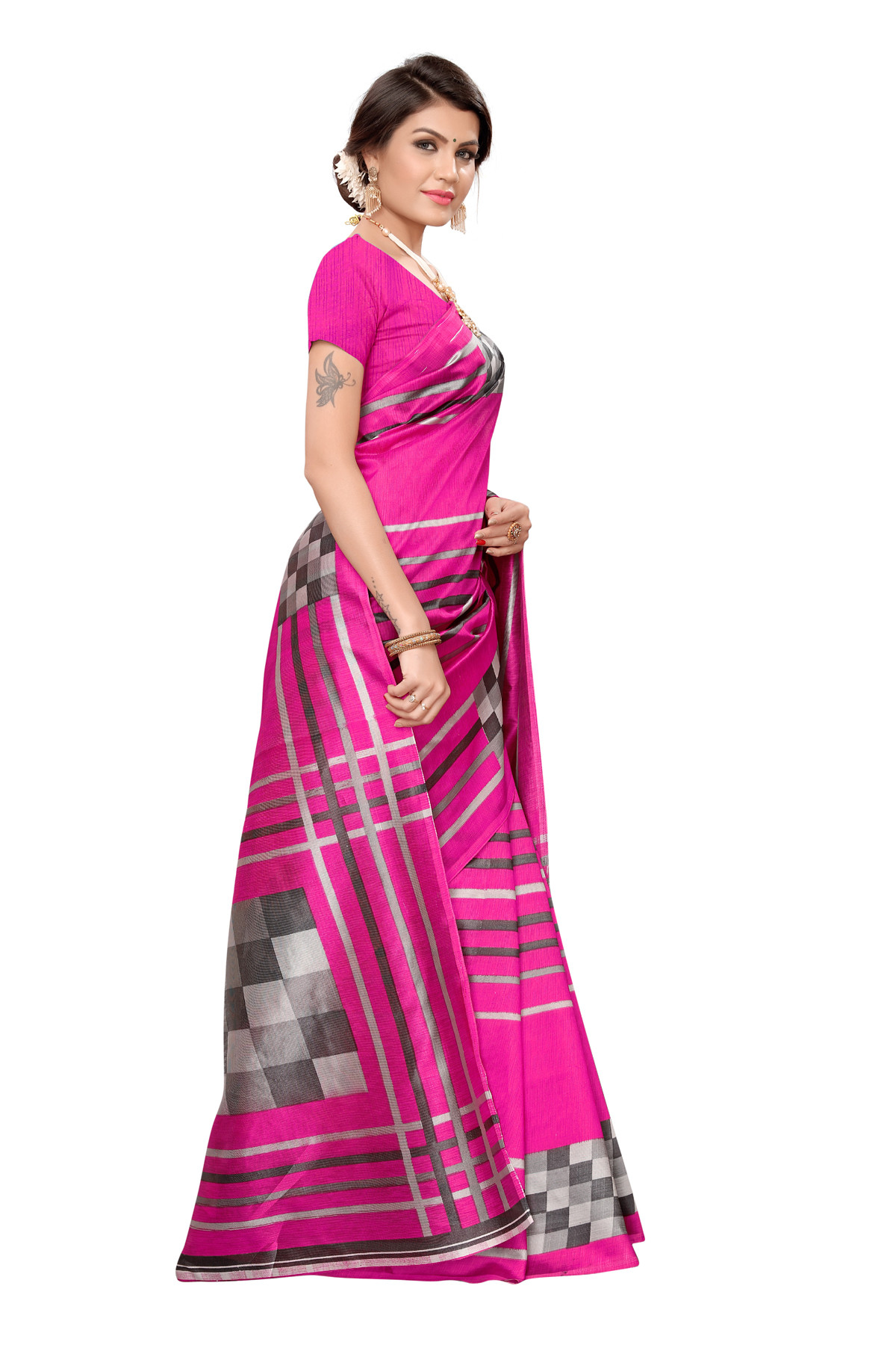 Latest Pink Party wear Denting saree