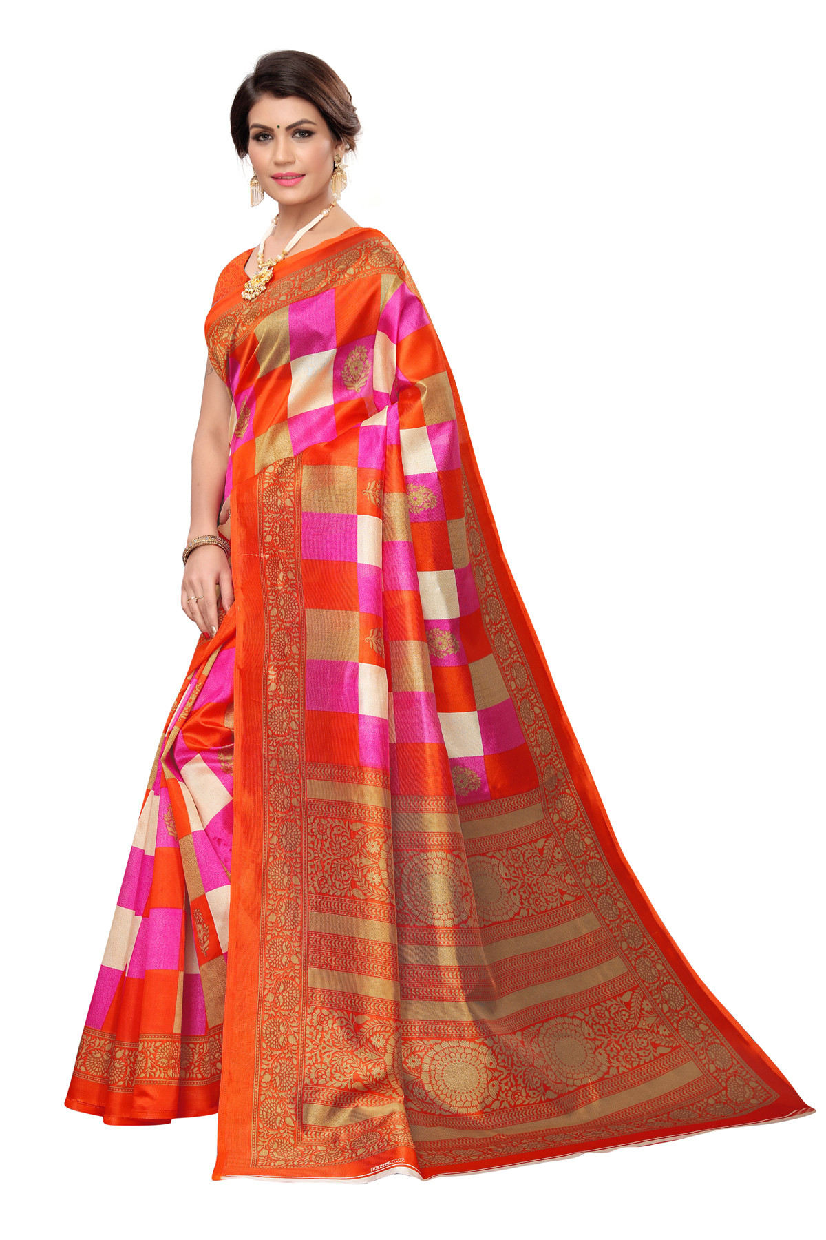 Latest Orange&Pink Party wear Denting saree