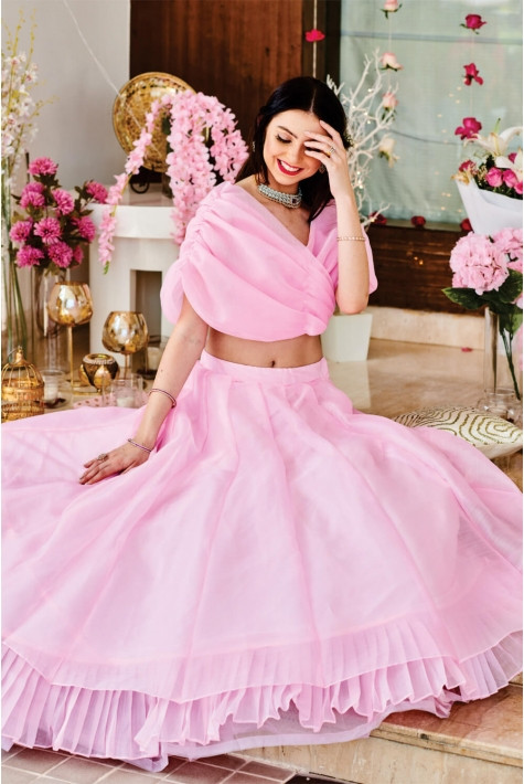 Beautiful Look Designer Organza Baby Pink Color Amazing Party Wear Lahenga Choli