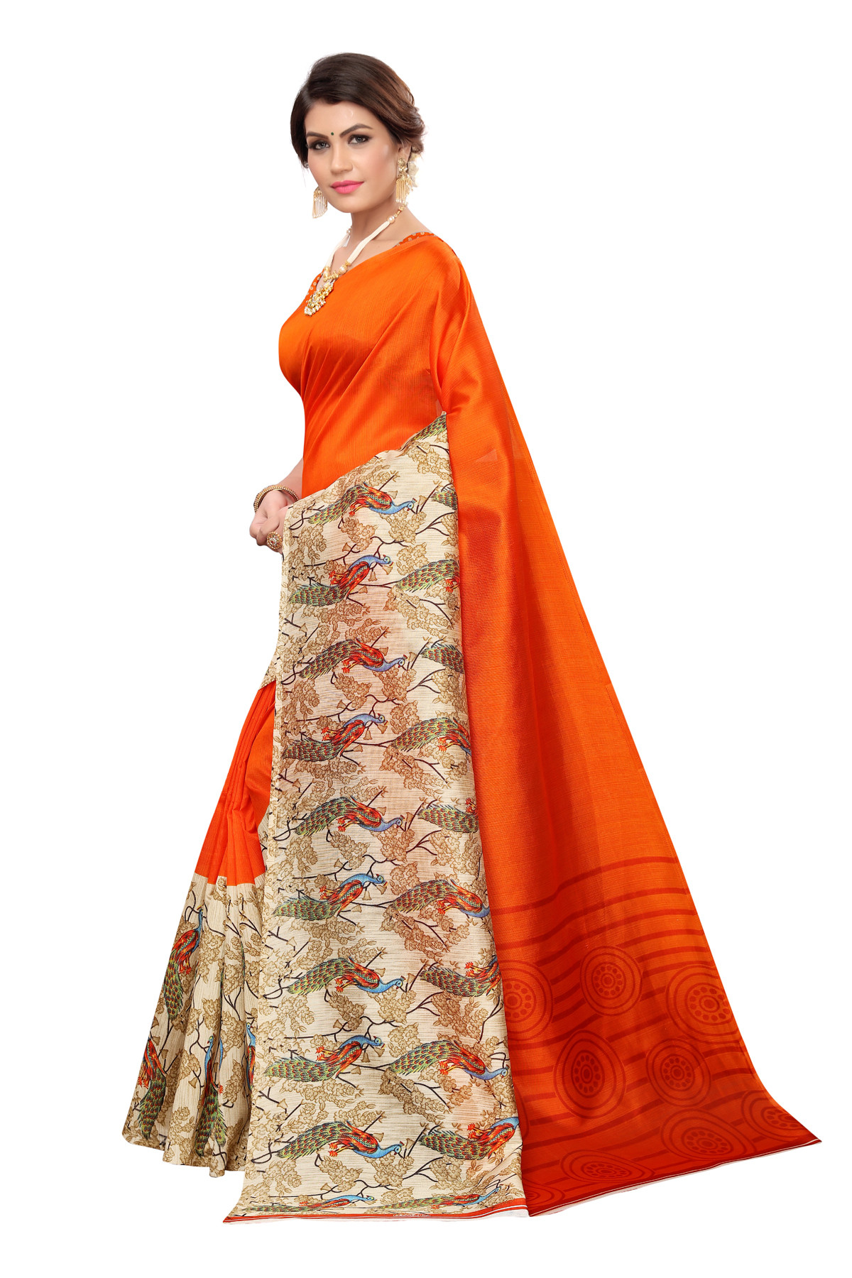 Latest Orange Party wear Denting saree
