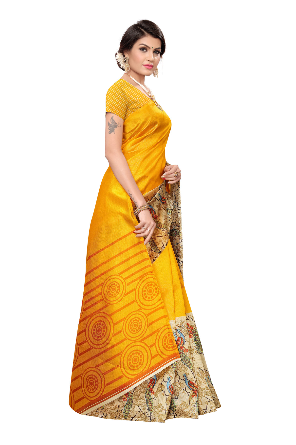 Latest Yellow Party wear Denting saree