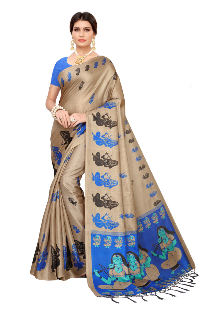 Party wear Blue and Dark Cream Color Khadi Silk Jhalor saree