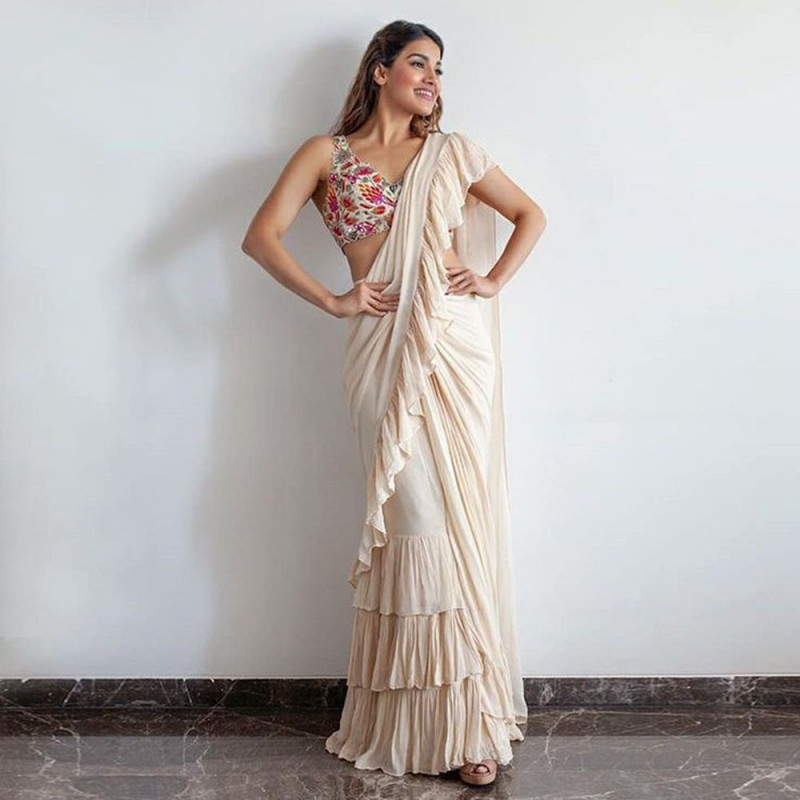 Designer Fancy Off White Color Georgette Frill Party Wear Saree