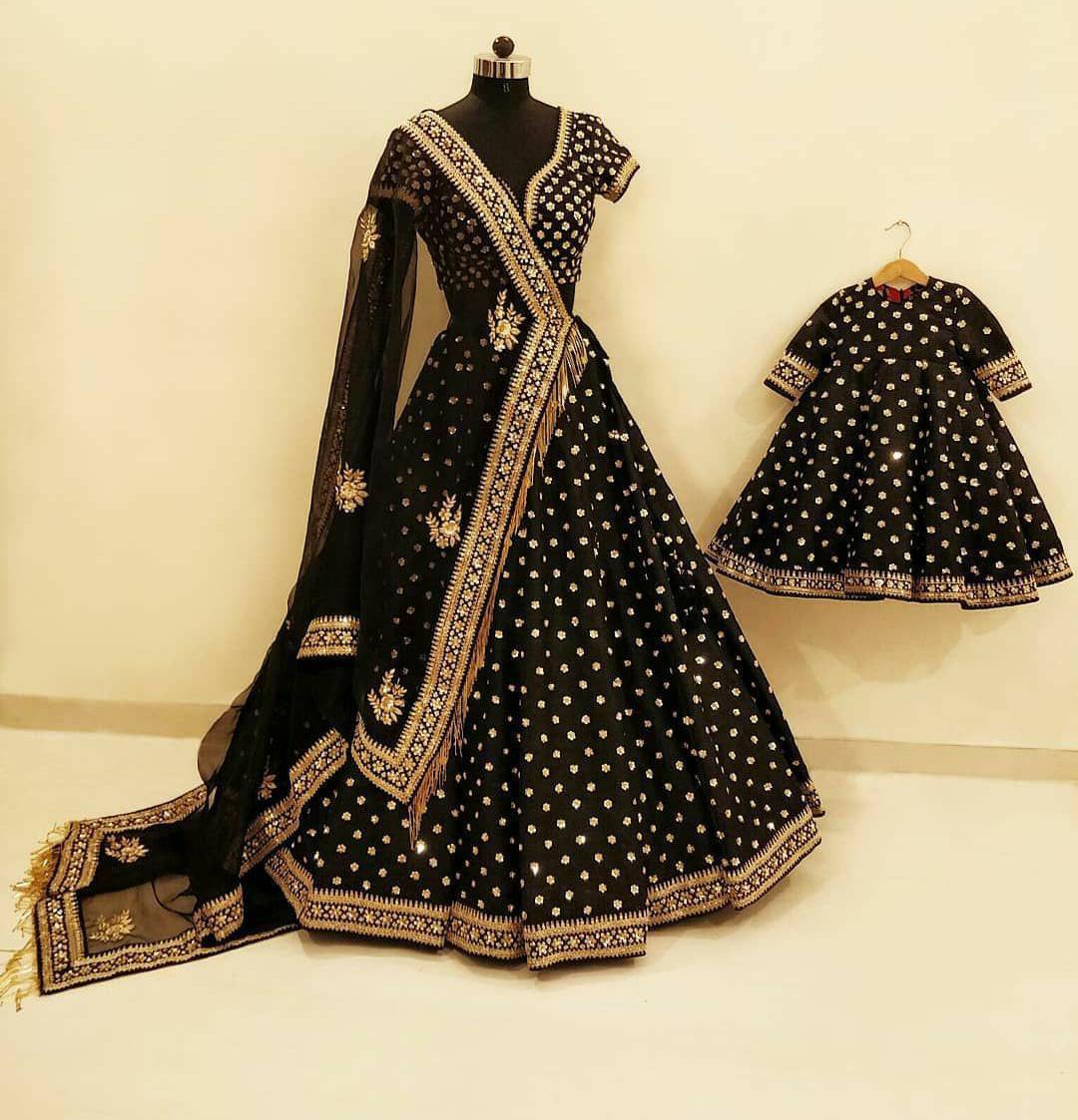 Designer Stylish Heavy Black Embroidery Taffeta silk Party Wear Lehenga Choli